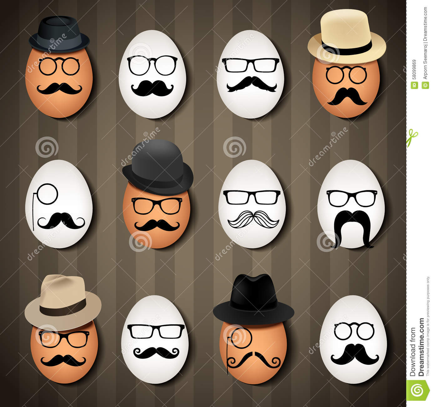 Vector illustrator many hipster eggs on brown background
