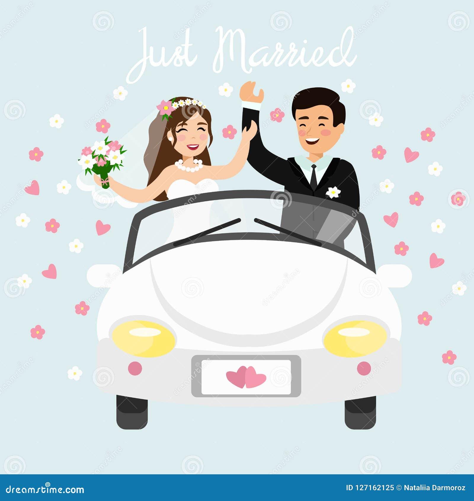 Vector a ilustração apenas do casal que conduz um carro branco na viagem da lua de mel Noivos do casamento no plano