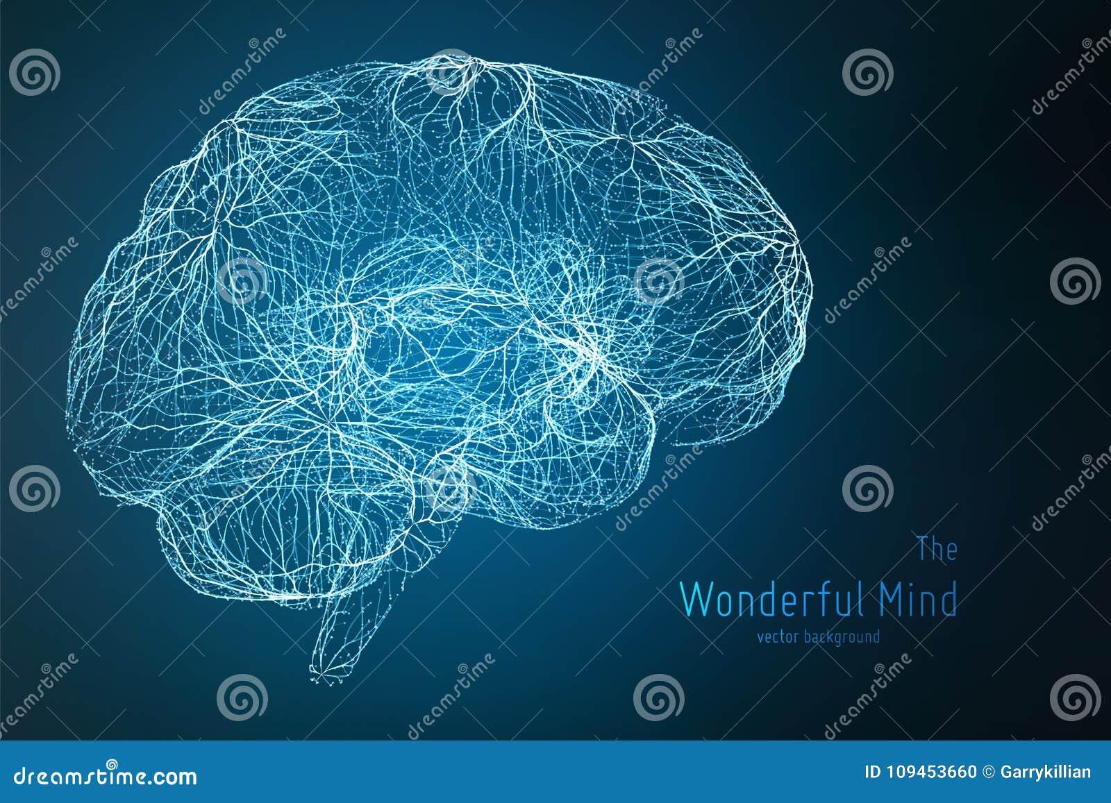 Vector a ilustração azul do lado do cérebro 3d com sinapses e os neurônios de incandescência Imagem conceptual do nascimento da i