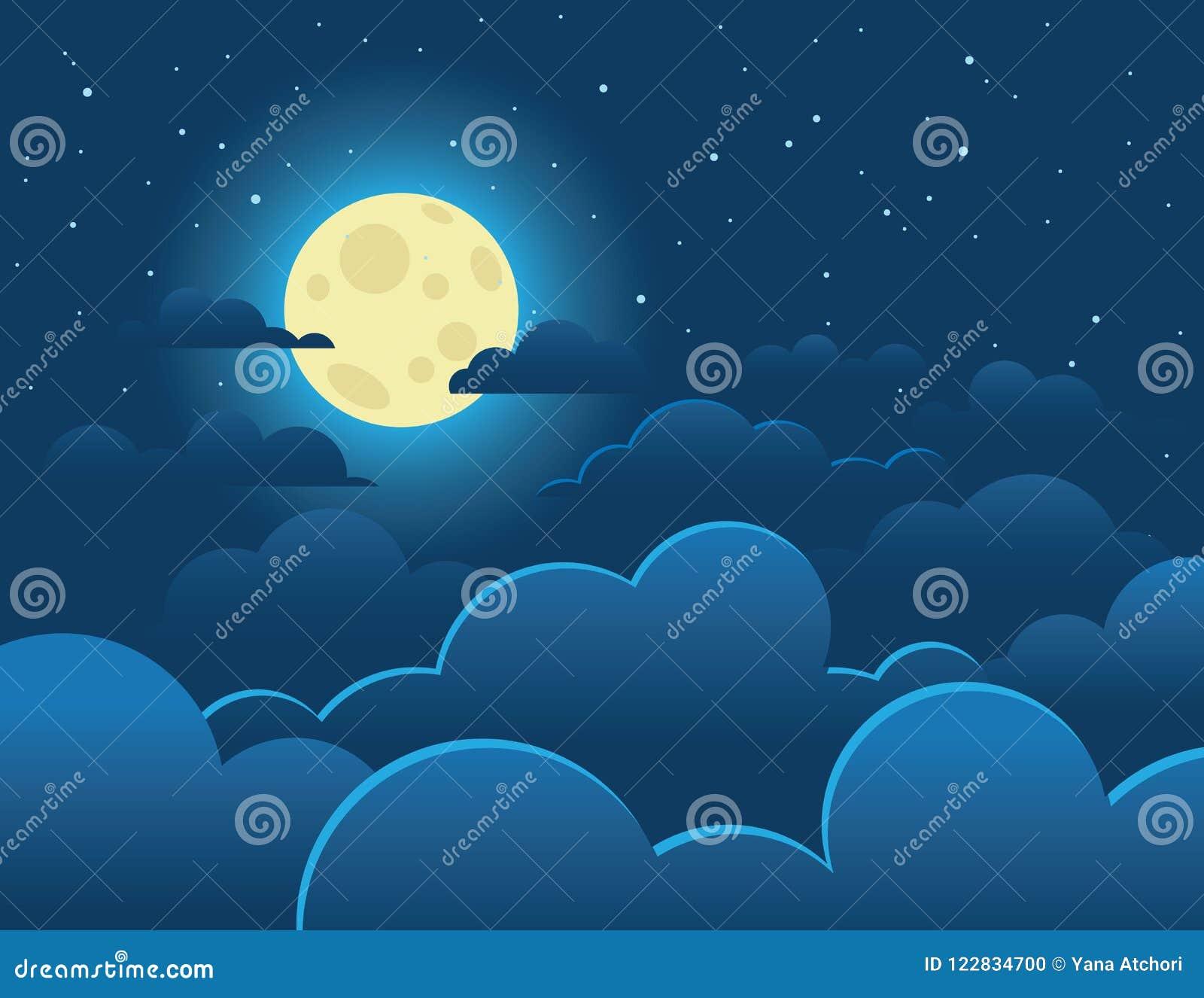 Vector a ilustração colorida de uma Lua cheia brilhante em um fundo de um céu escuro