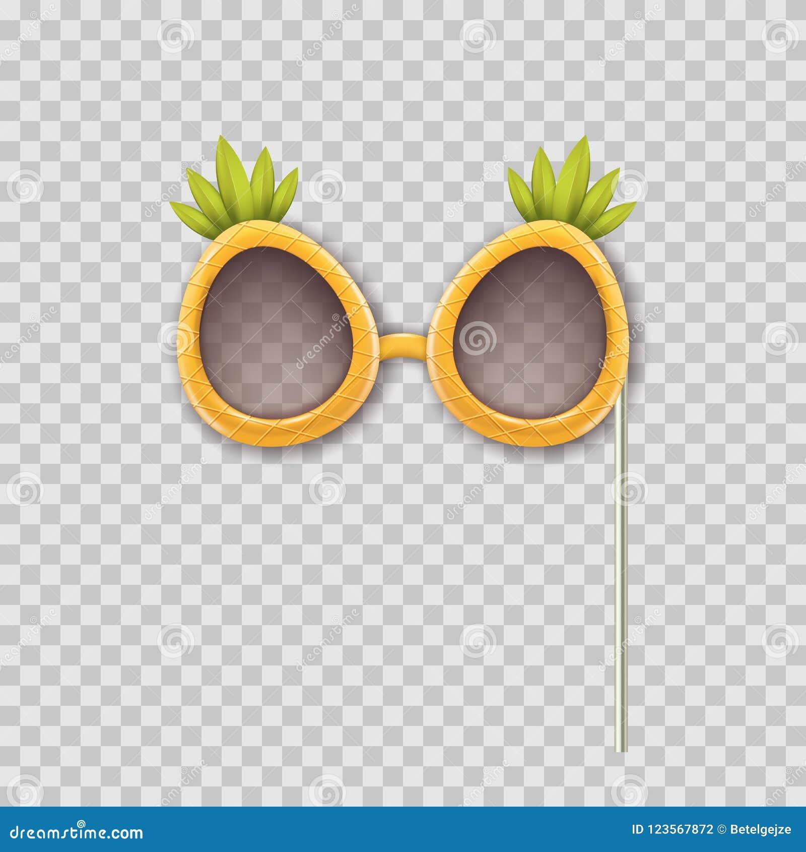 Vector a ilustração 3d realística de vidros do abacaxi dos suportes da cabine da foto Objeto isolado no fundo transparente
