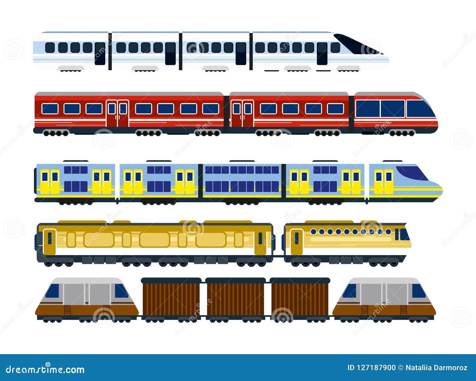 Vector a ilustração da coleção de locomotivas railway modernas, do grupo de vagões dos passageiros e dos trens da velocidade no p