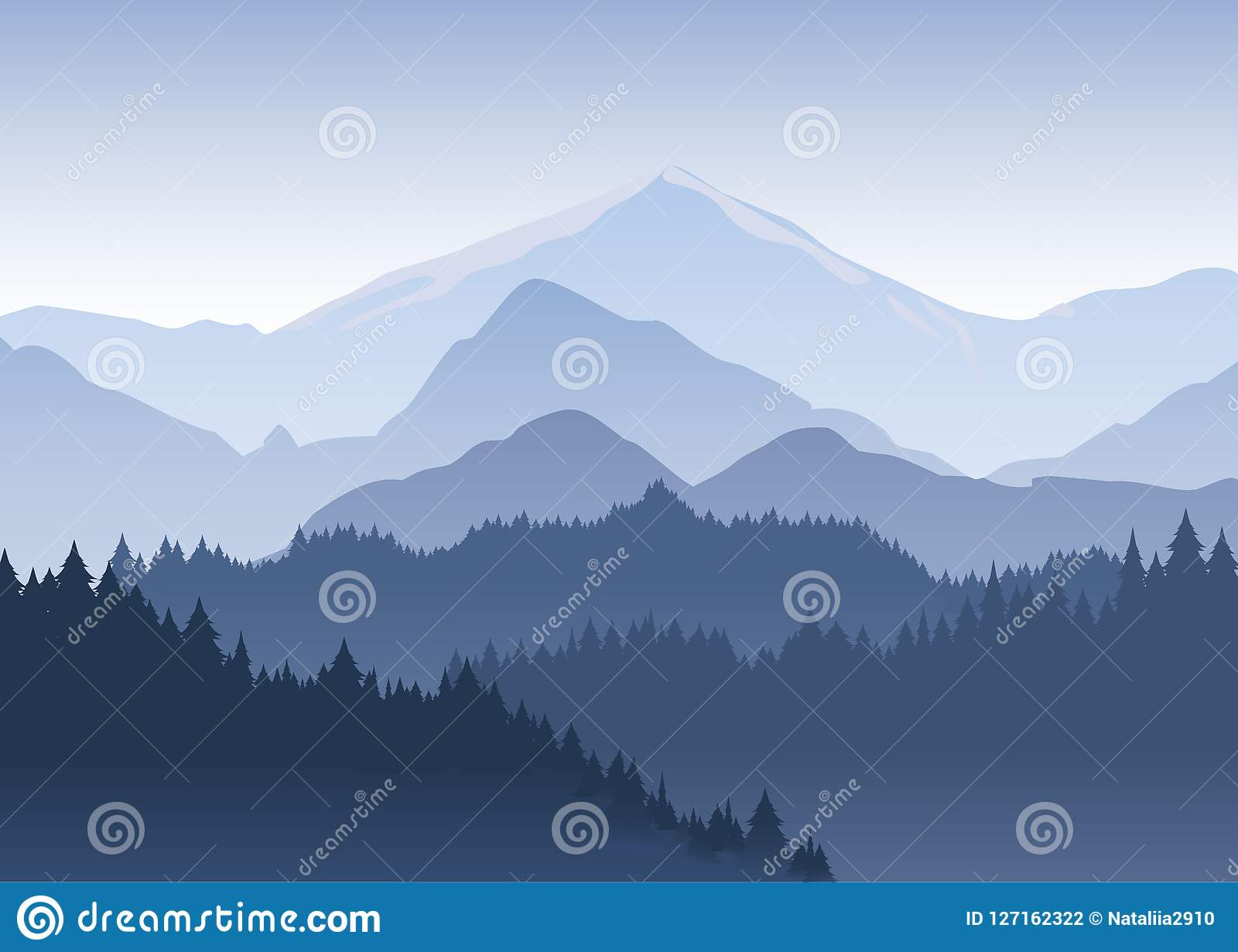 Vector a ilustração da floresta dos pinheiros que recua na distância no fundo da luz - montanhas azuis dentro