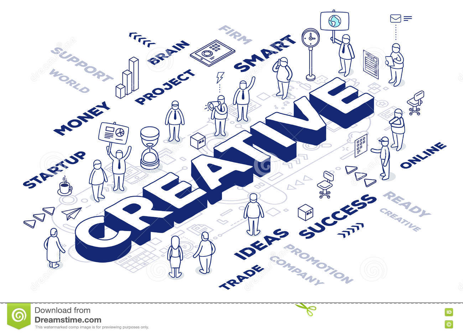 Vector a ilustração da palavra tridimensional criativa com peop