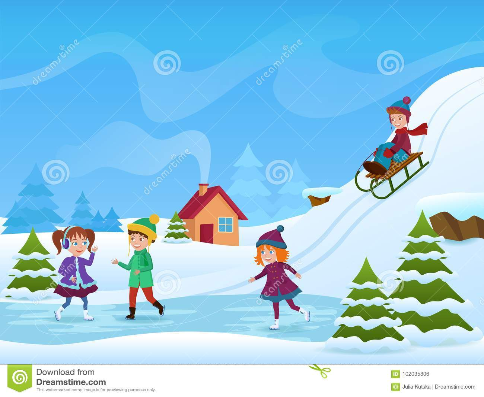 Vector a ilustração da patinagem no gelo alegre e de sledging das crianças no inverno Cartão dos holifays do inverno