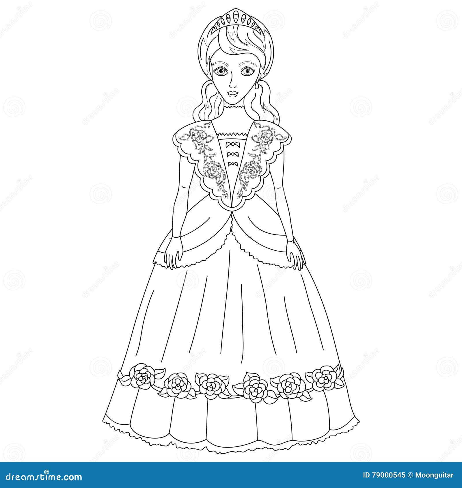 Vector A Ilustracao Da Princesa No Vestido Antigo Livro Para