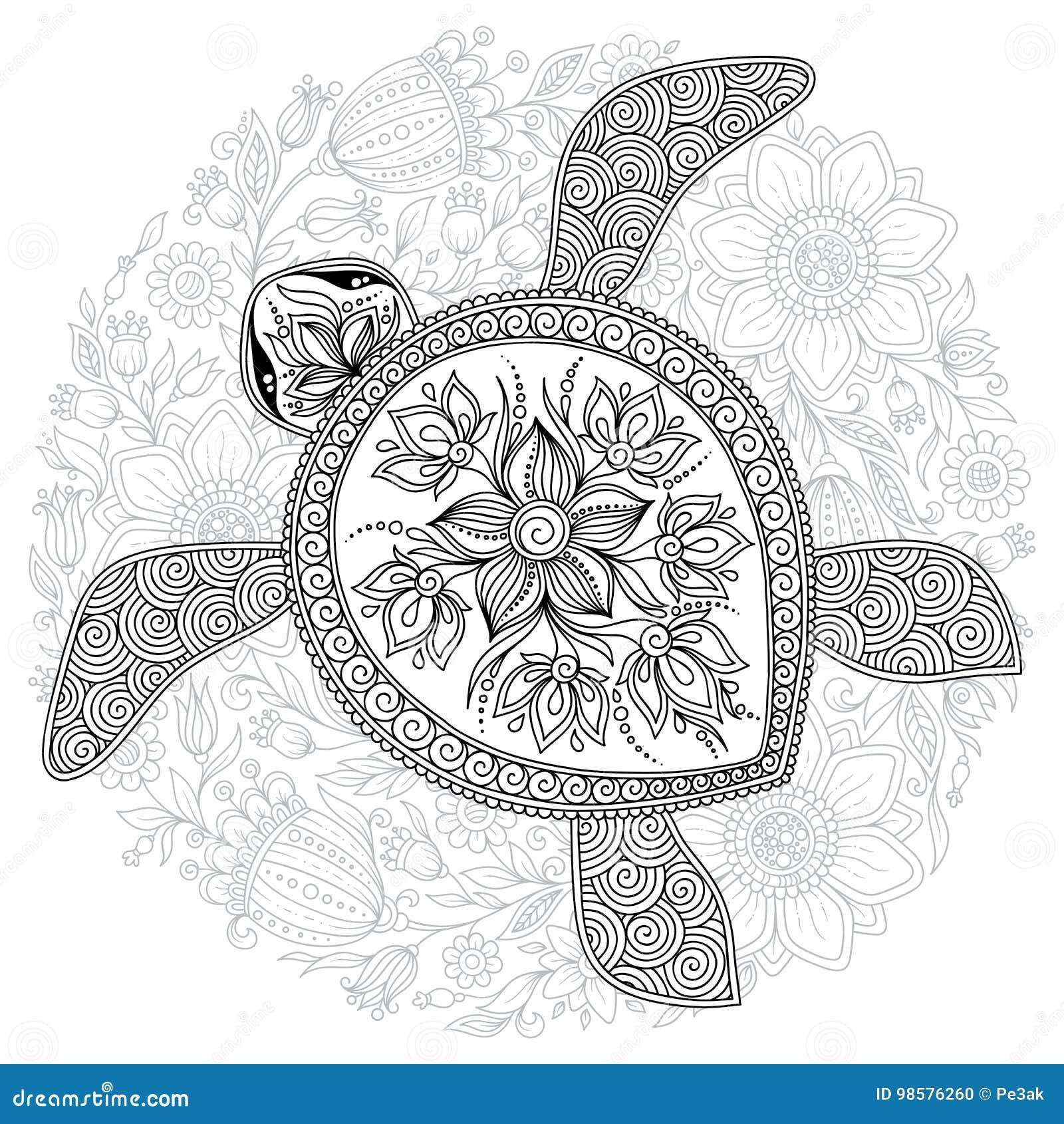 Vector A Ilustracao Da Tartaruga De Mar Para Paginas Do Livro Para