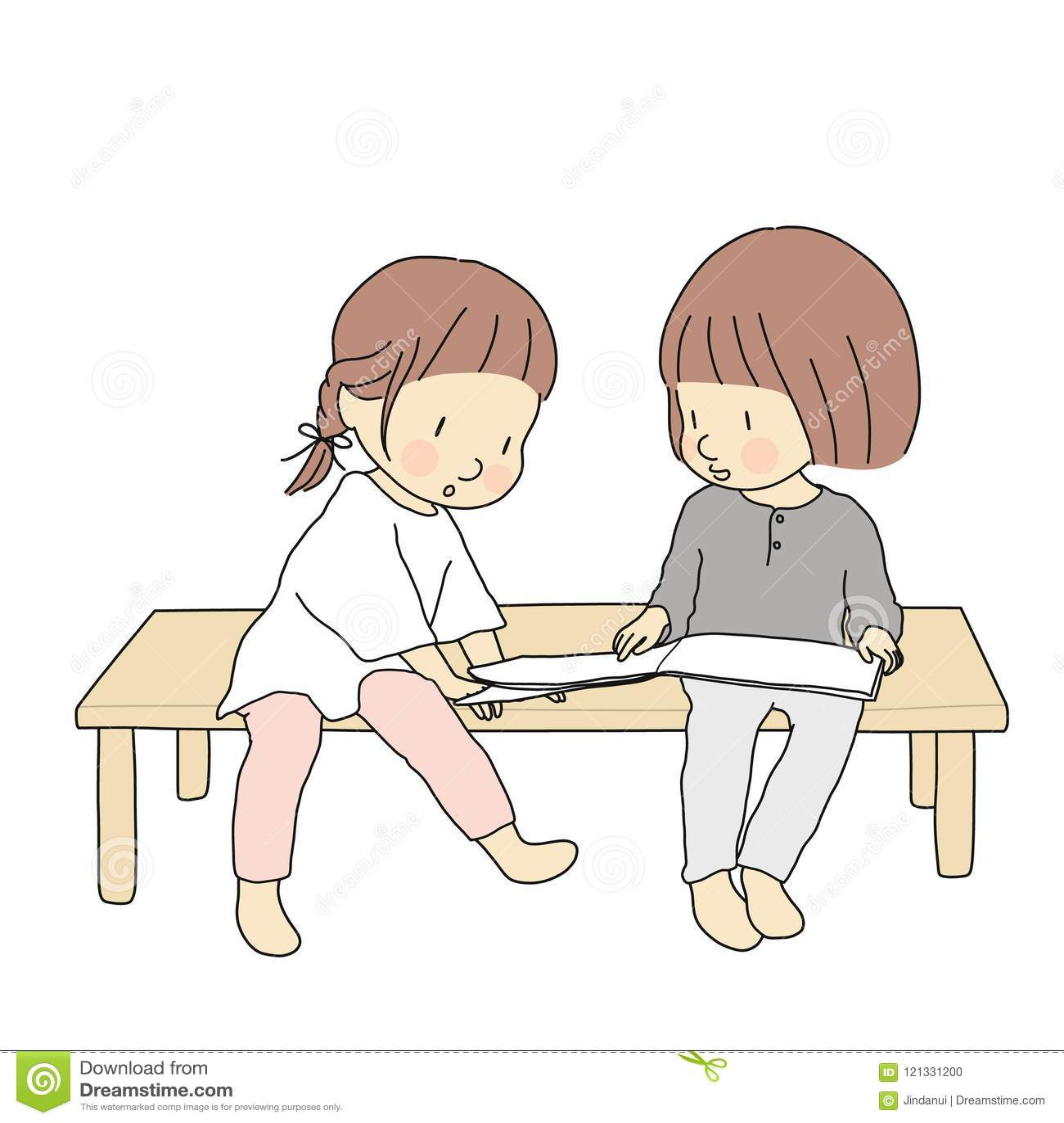 Vector a ilustração das crianças que sentam e que leem o livro da história junto Atividade do desenvolvimento da primeira infânci