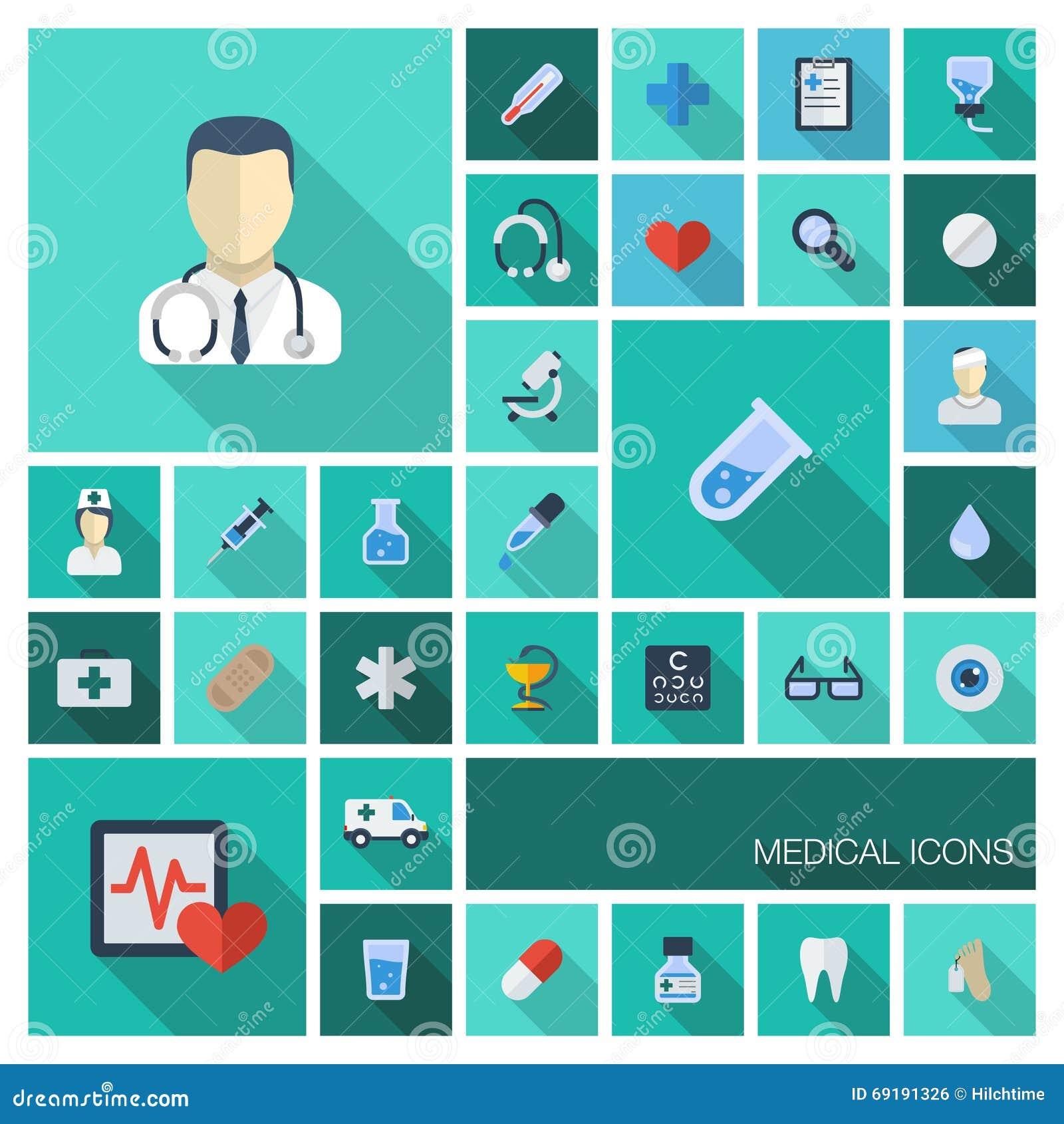 Vector a ilustração de ícones coloridos plano com sombras longas Fundo abstrato com médico, saúde da medicina