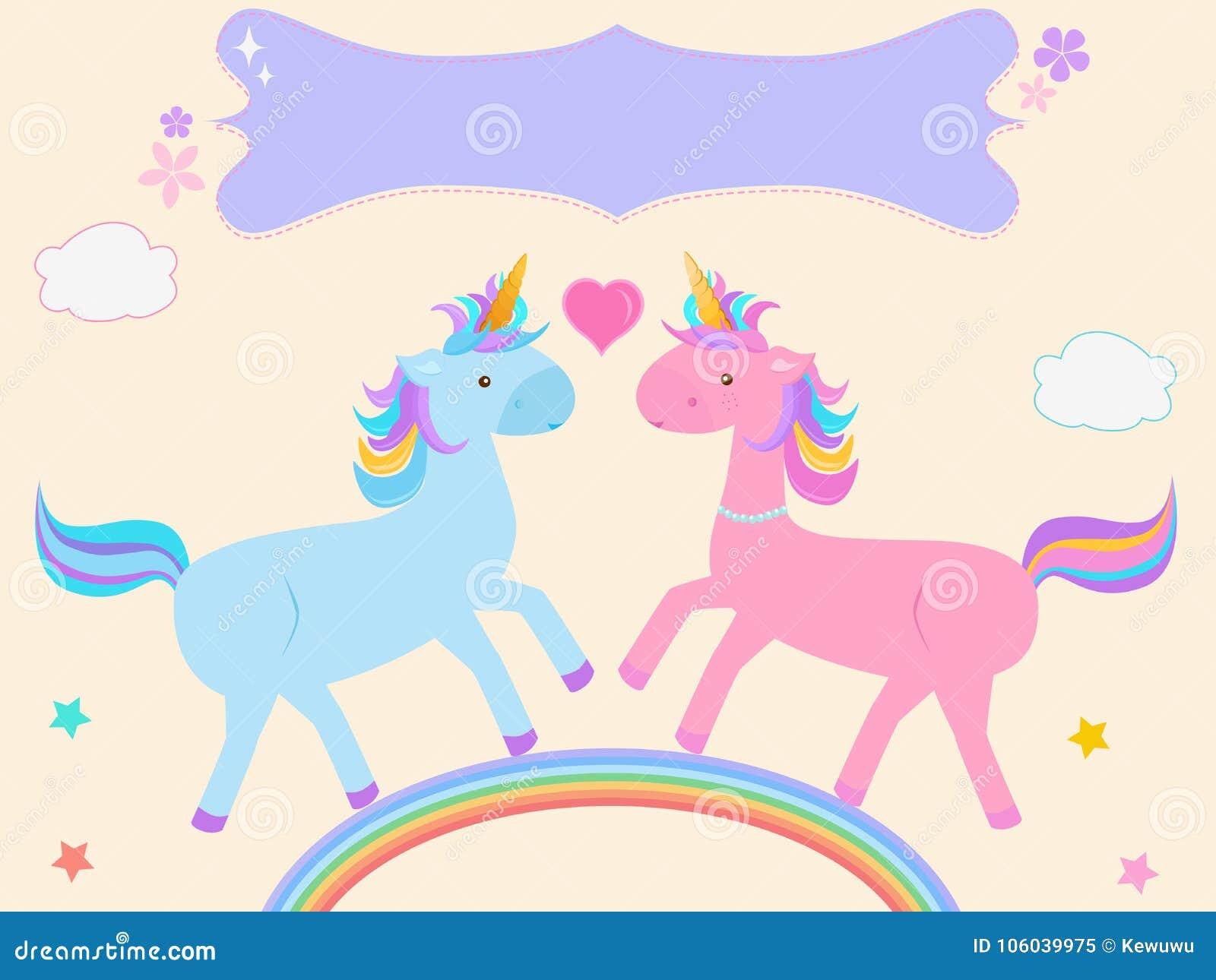 Vector a ilustração de desenhos animados bonitos dos pares do unicórnio no azul cor-de-rosa