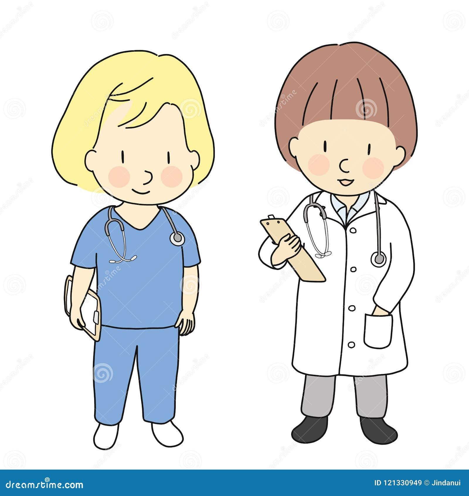Vector a ilustração de profissões da criança, medique-a e nutra-a O que eu quero ser quando cresça acima Traje das ocupações das