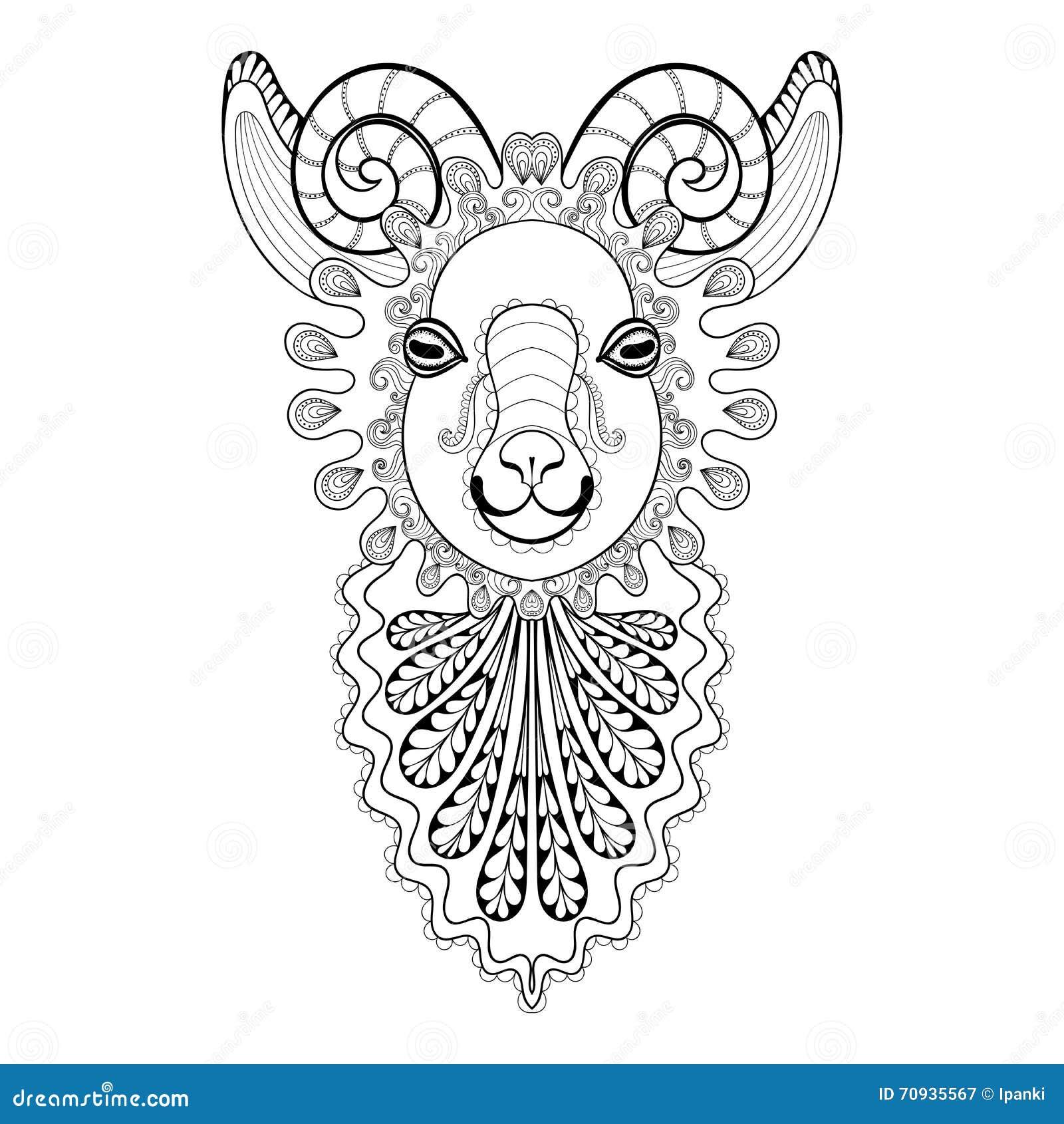 Vector a ilustração de Ram Head do zentangle, cópia da cabra para o adulto