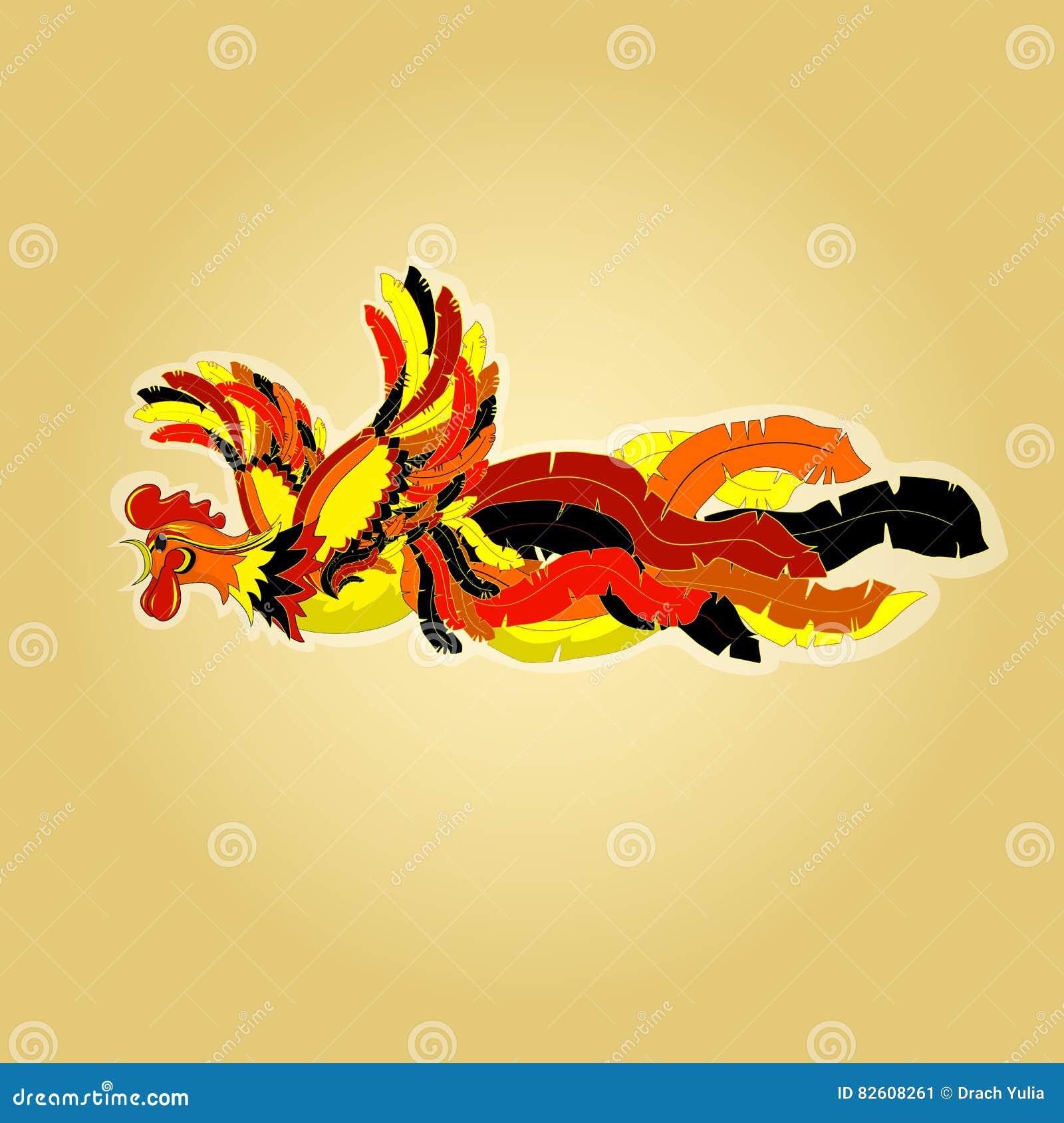 Vector a ilustração de um galo do voo, pintada no estilo chinês com cauda de vibração