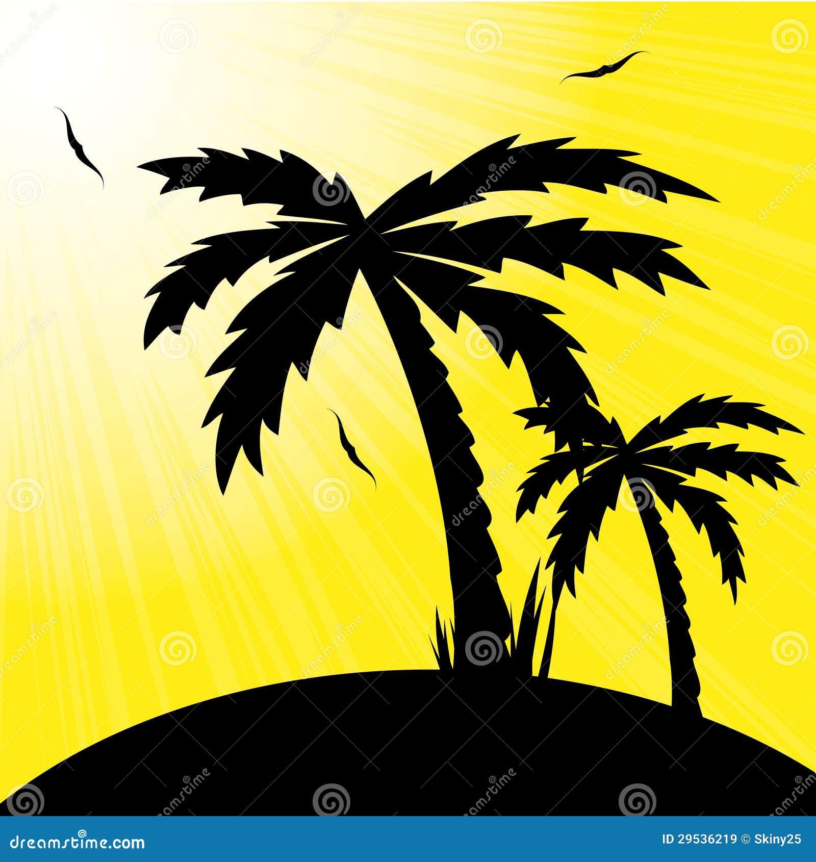 Vector a ilustração de um por do sol e de uma palma tropicais