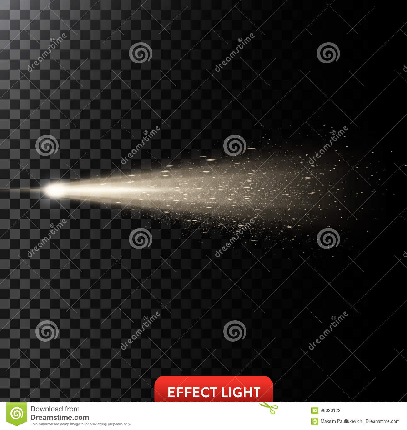 Vector a ilustração de um raio claro dourado com brilho, um feixe luminoso com faíscas