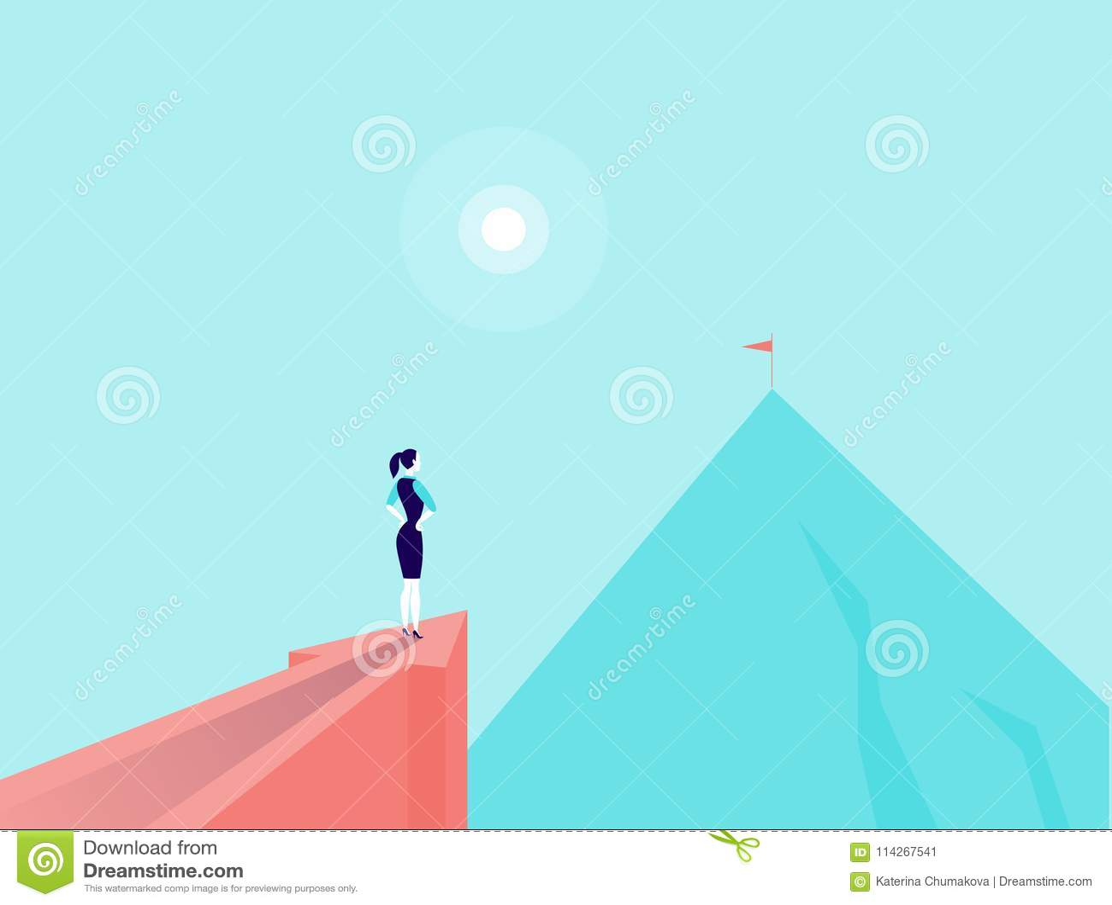 Vector a ilustração do conceito do negócio com a senhora do negócio que está na seta grande que aponta no pico de montanha