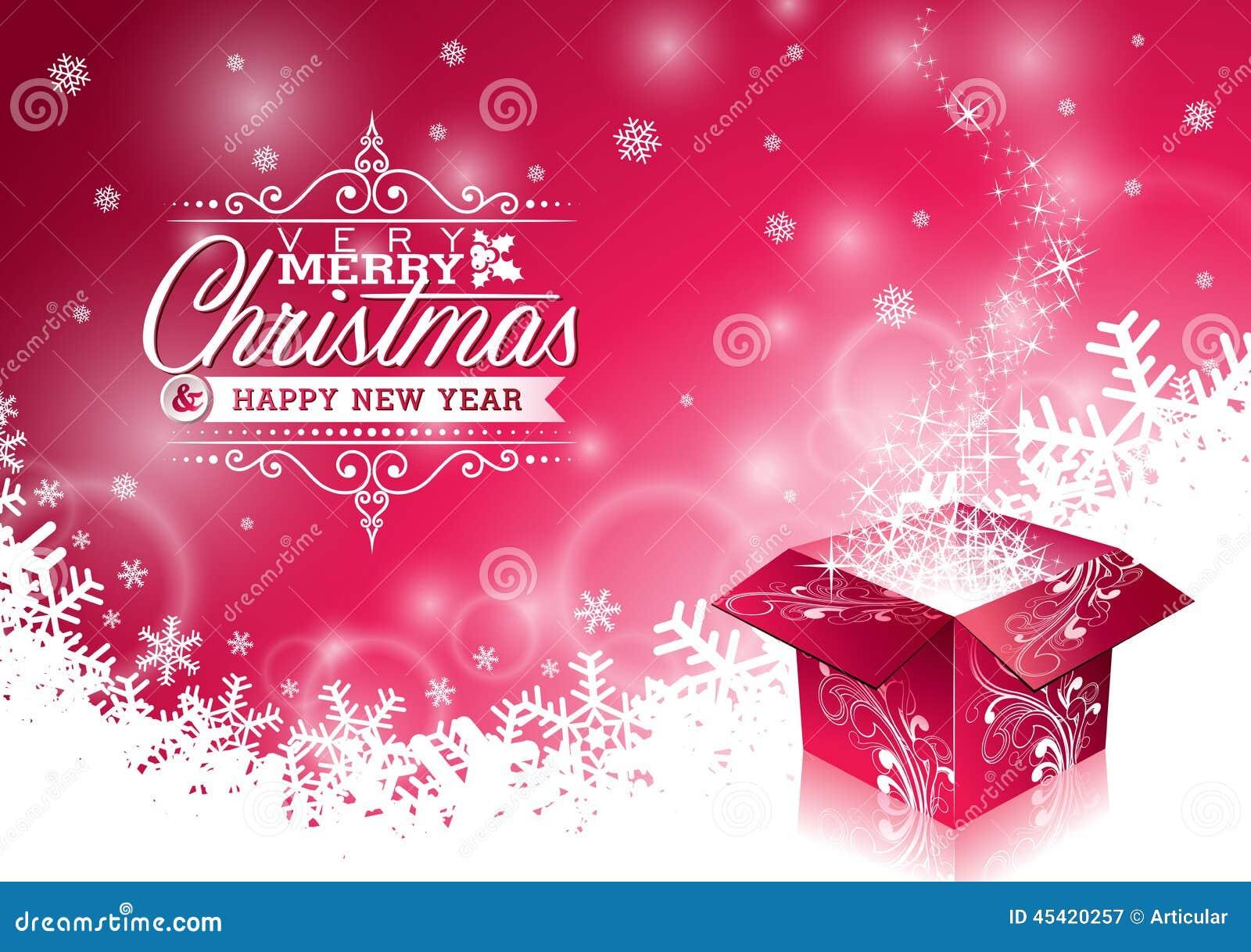 Vector a ilustração do Natal com projeto tipográfico e a caixa de presente mágica brilhante no fundo dos flocos de neve
