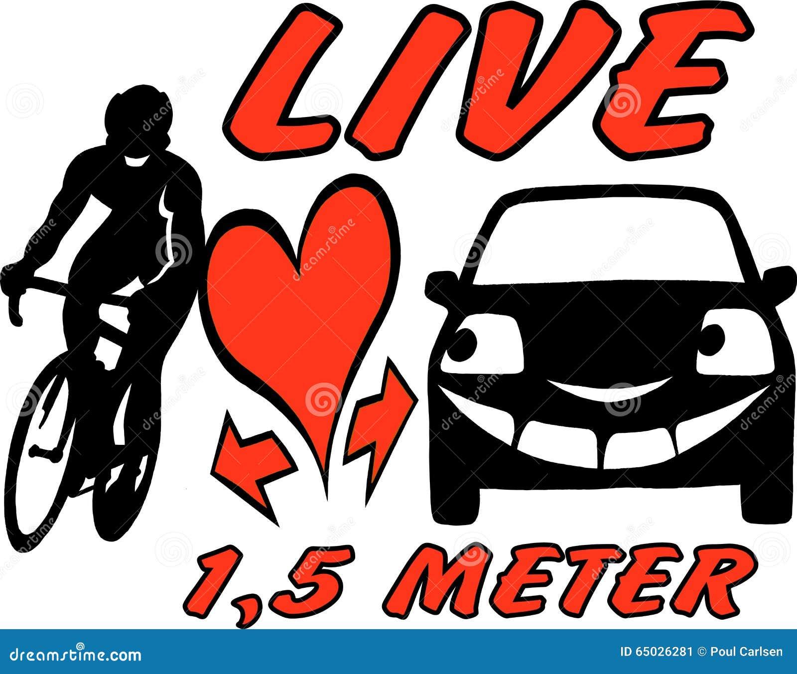 Vector a ilustração dos desenhos animados de um motociclista e de um carro para ser ciente e atencioso no tráfego