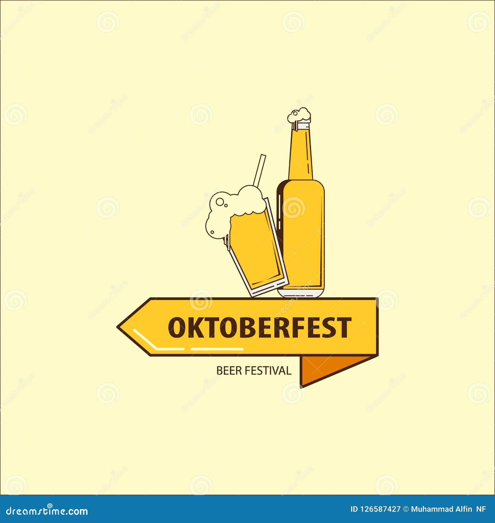 Vector a ilustração a mais oktoberfest lisa do logotipo com uma cerveja e uma garrafa de vidro para o festival da cerveja Ícone d