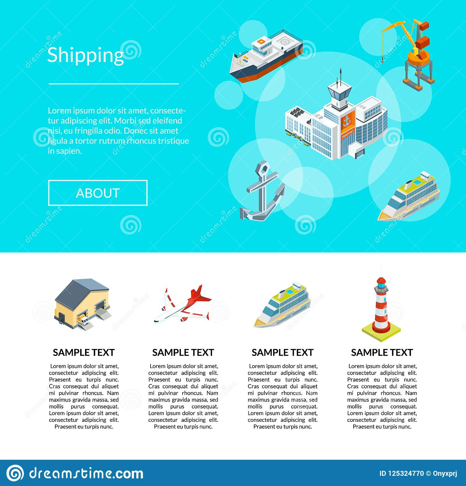 Vector a ilustração marinha isométrica da logística e do molde da página da aterrissagem do porto
