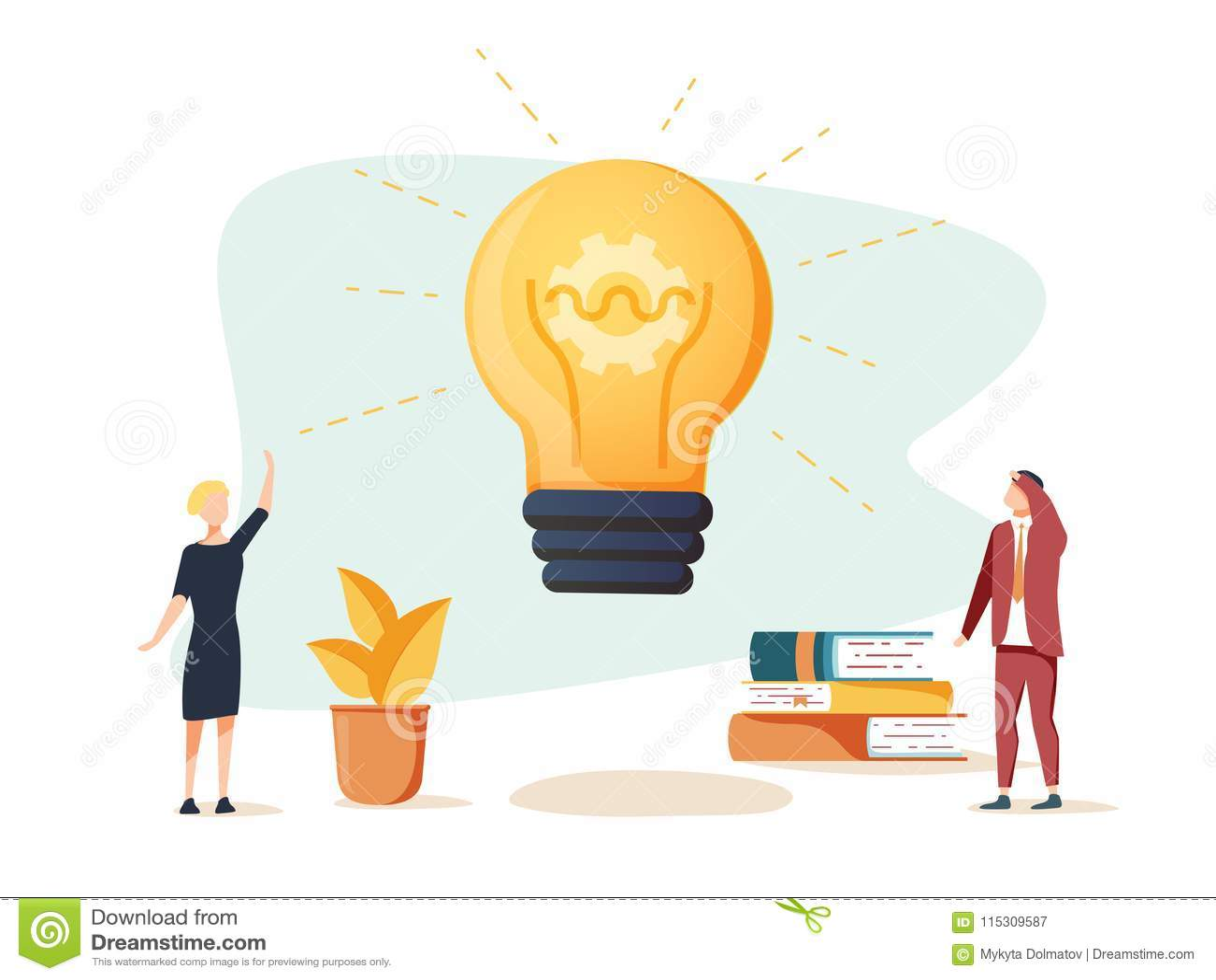 Vector a ilustração, a reunião de negócios e a sessão de reflexão lisas, conceito do negócio para trabalhos de equipa, procurando