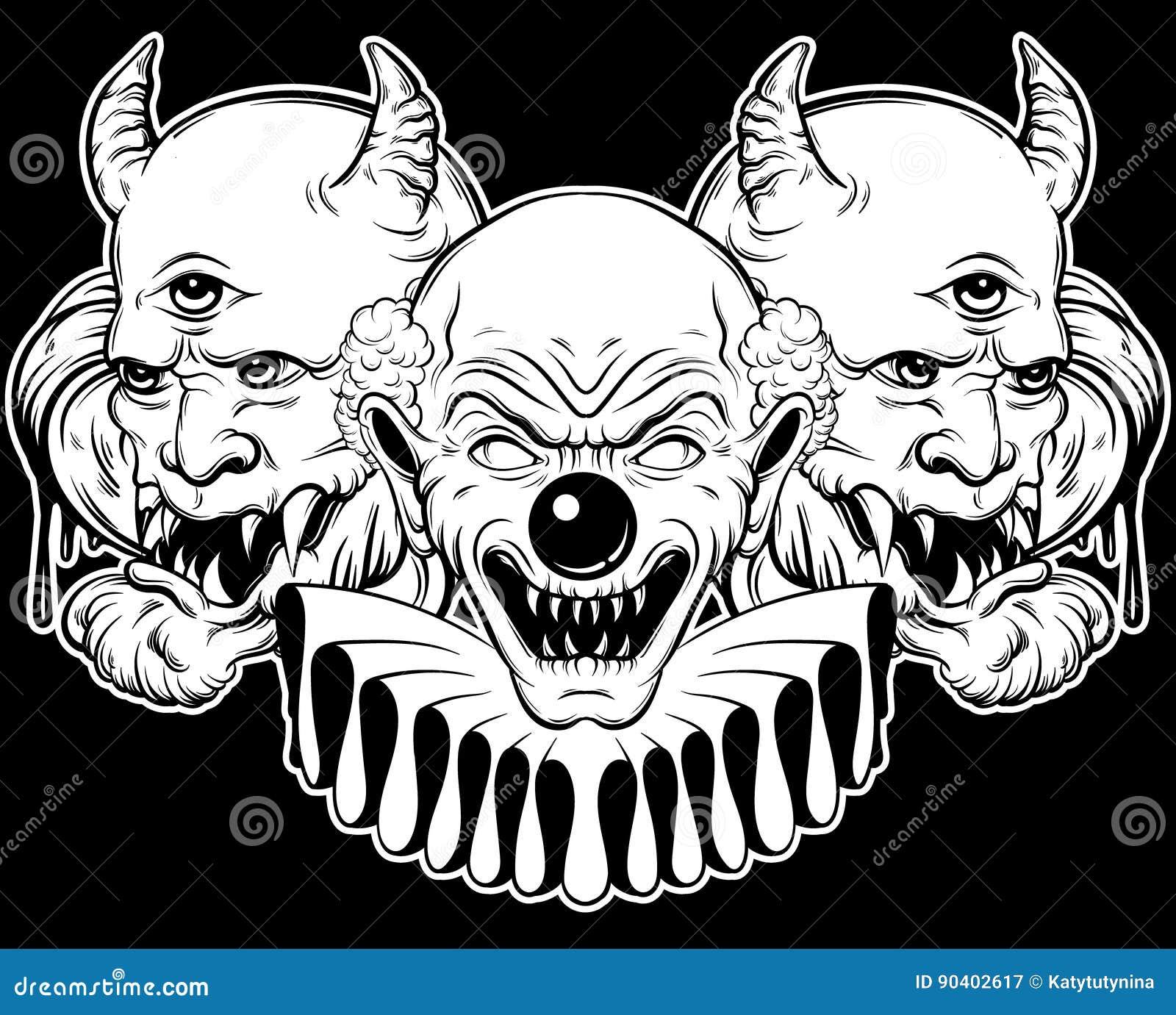 Desenho Palhaço Tatuagem vector a ilustração tirada mão do palhaço e do demônio