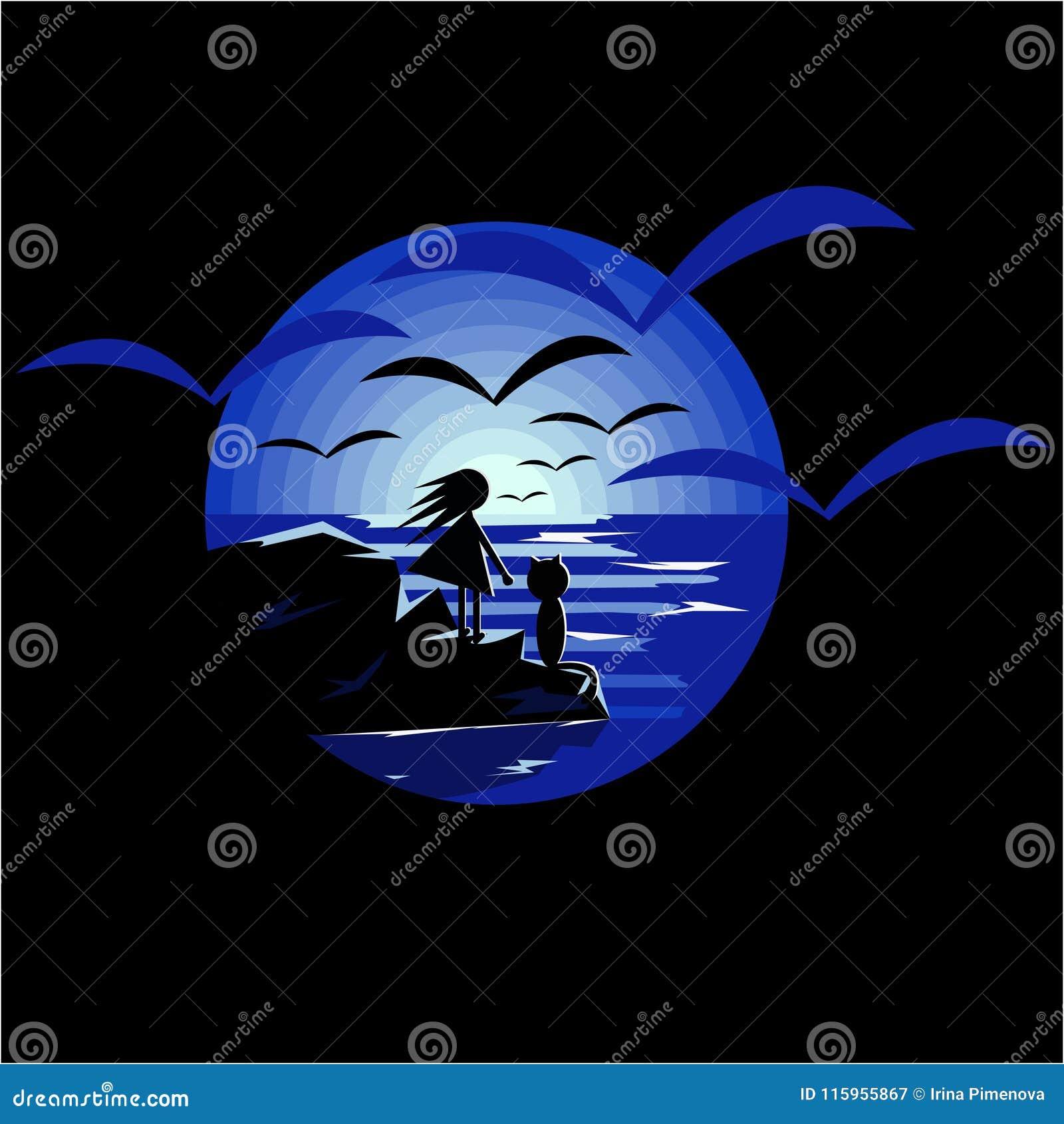 Vector a ilustração usando a menina negativa do espaço com o gato que olha a lua