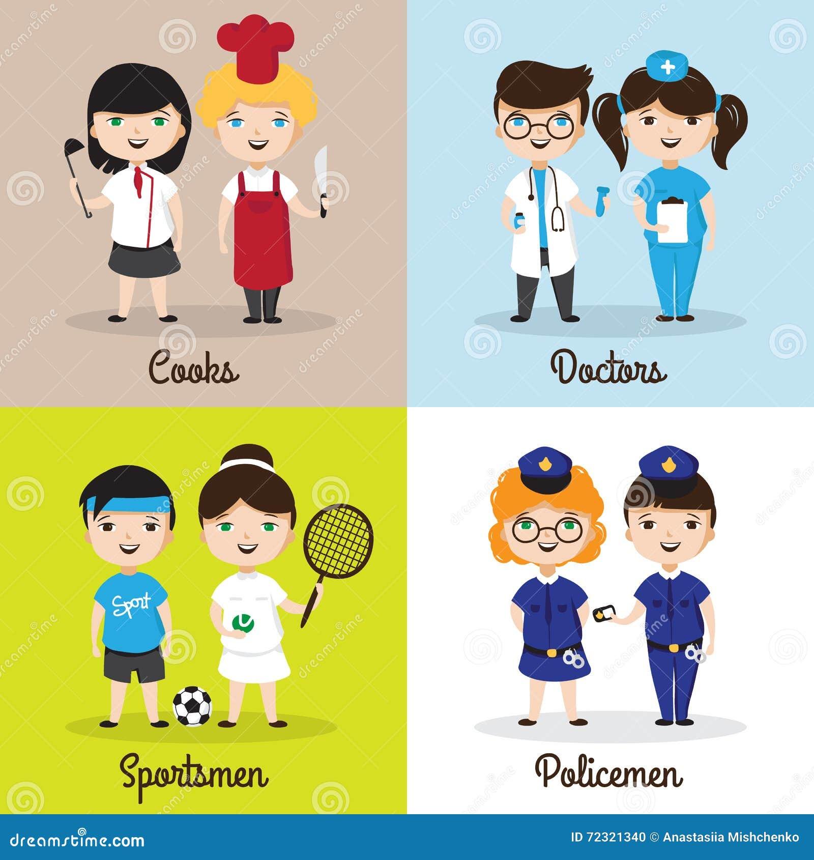 Vector Ilustrações De Crianças Bonitos Dos Desenhos