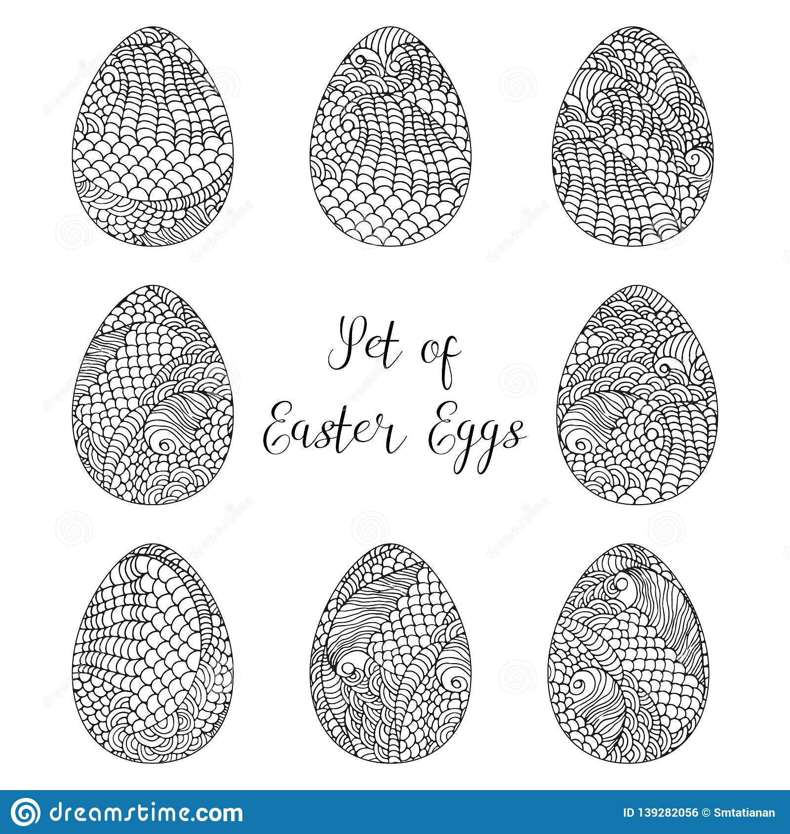 Vector ilustration, set of Easter eggs with hand drawn doodle patterns isolated on white. Coloring black and white book