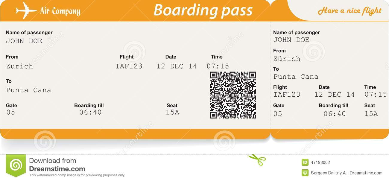 Vector Image Of Airline Boarding Pass Ticket Stock Vector ...