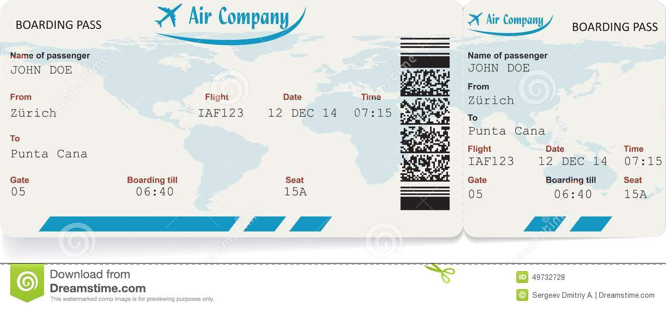Vector Image Of Airline Boarding Pass Ticket Stock Vector