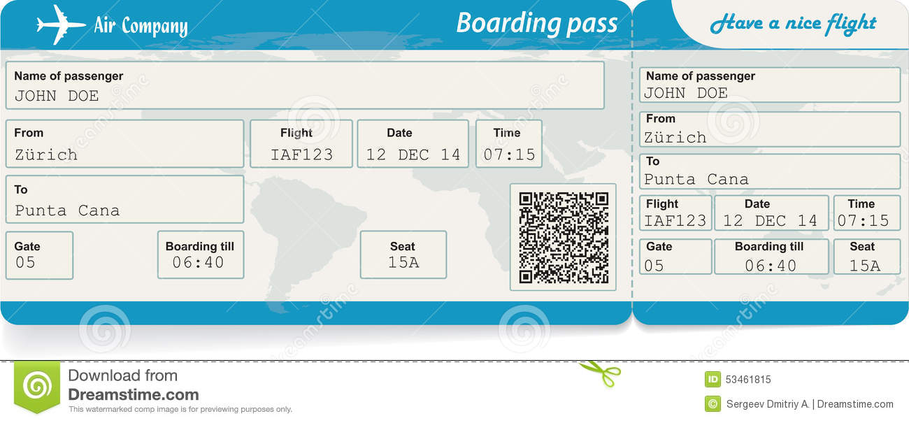 Vector Image Of Airline Boarding Pass Ticket Stock Vector Image