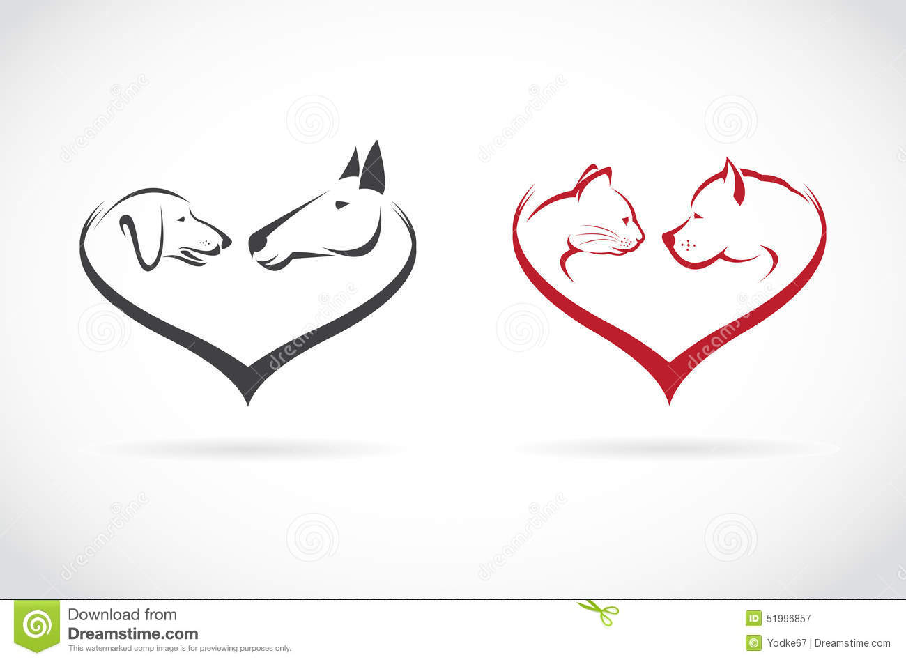 Vector Image Of Animal On Heart Shape On White Background Stock Vector ...