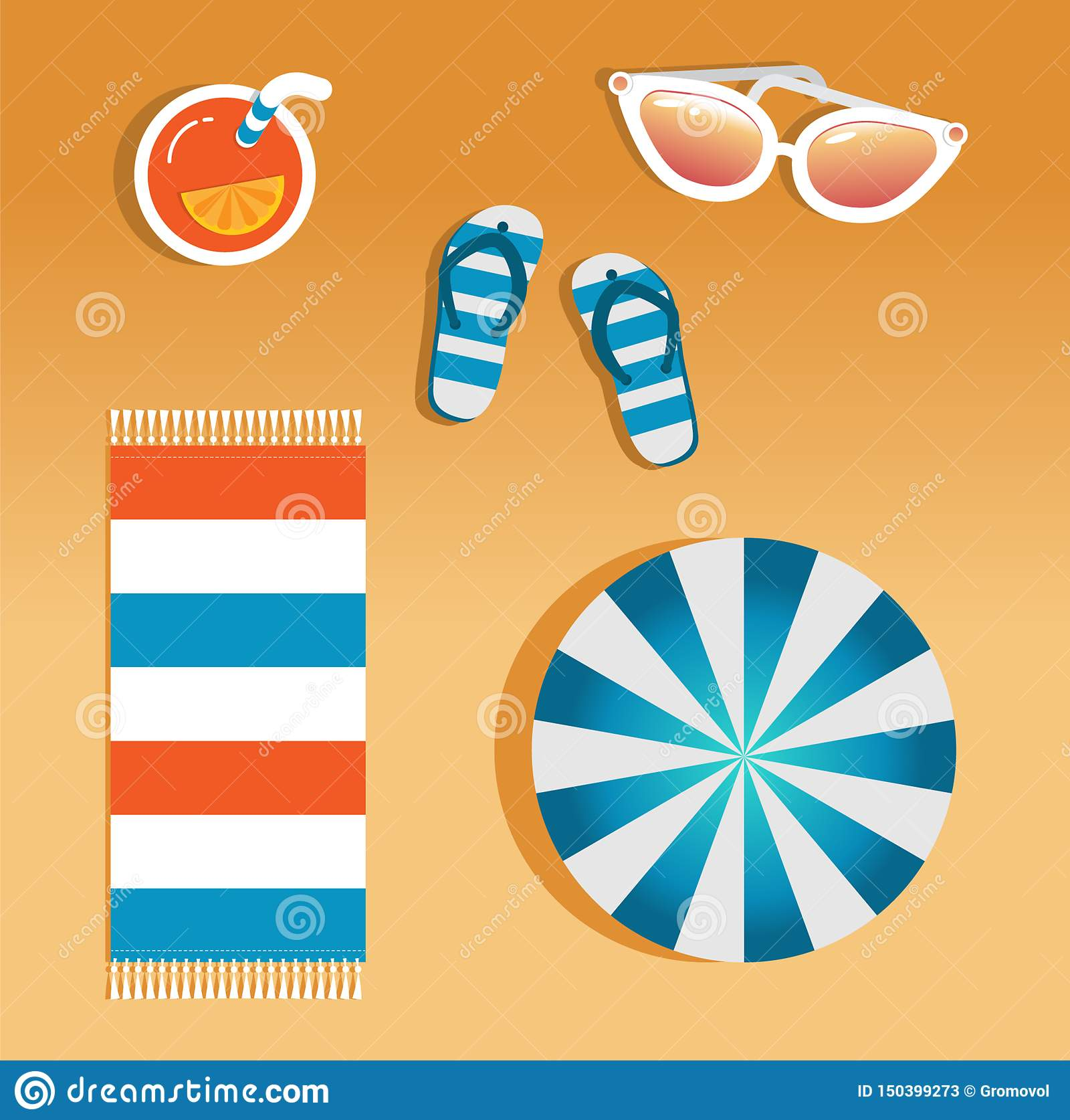 Vector image of beach accessories