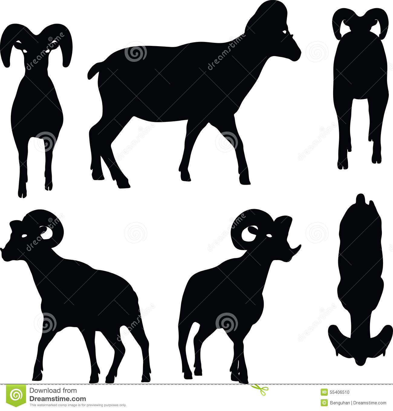 Vector Image Big Horn Sheep Silhouette In Walking Pose