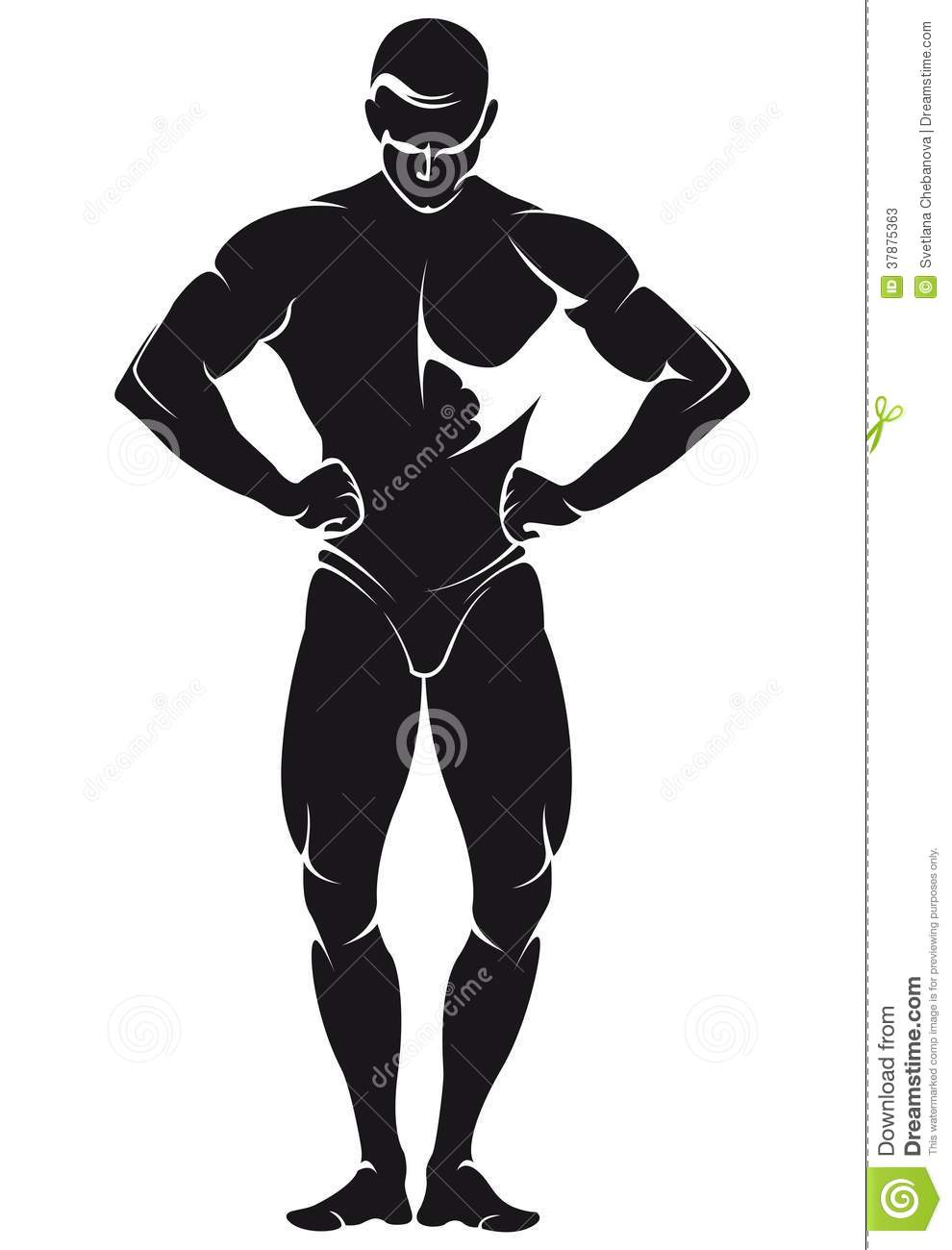 Vector Image With Bodybuilder, Silhouette Stock
