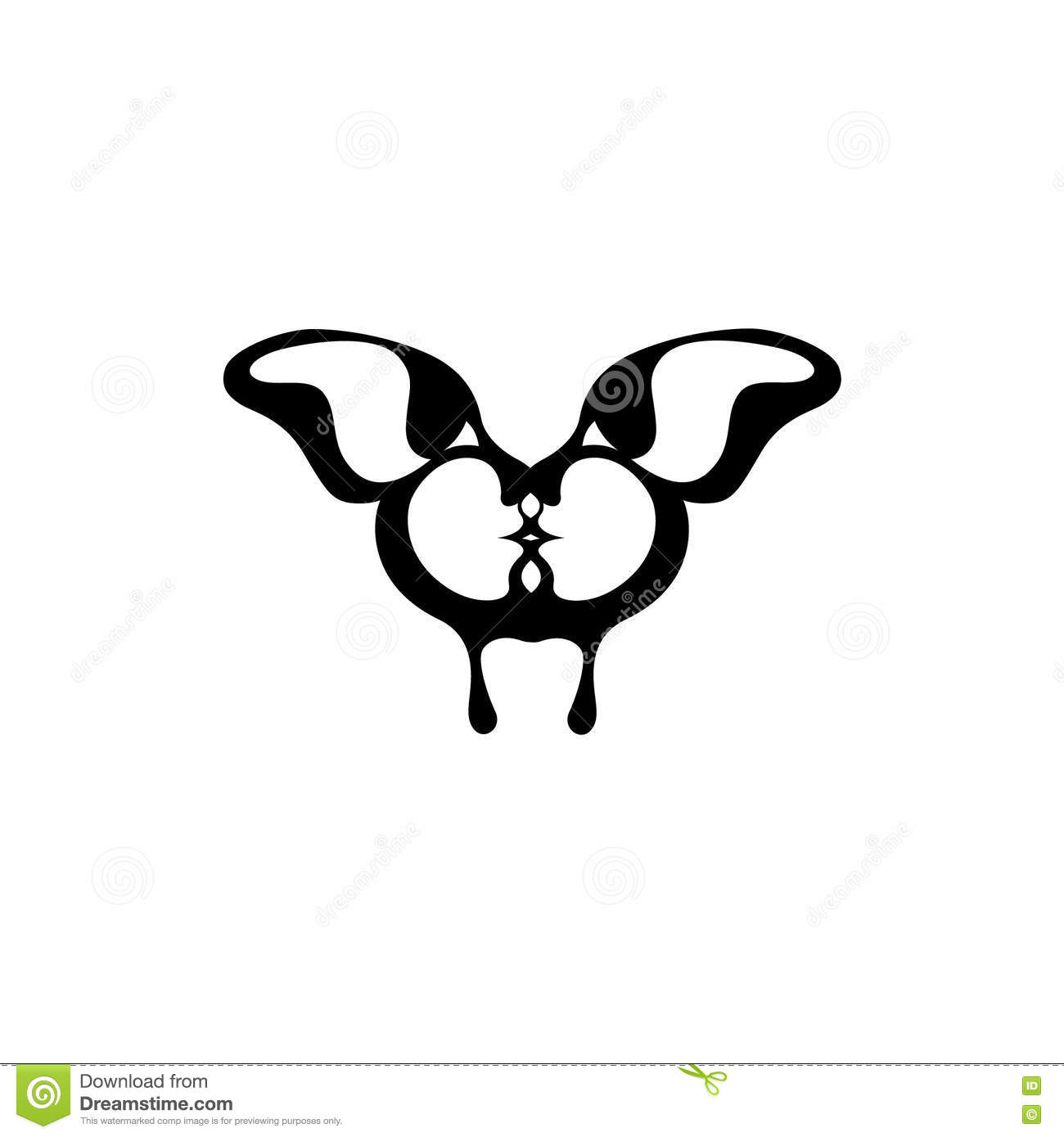 Download Vector Image Of A Butterfly Two Kissing Faces Stock Illustration