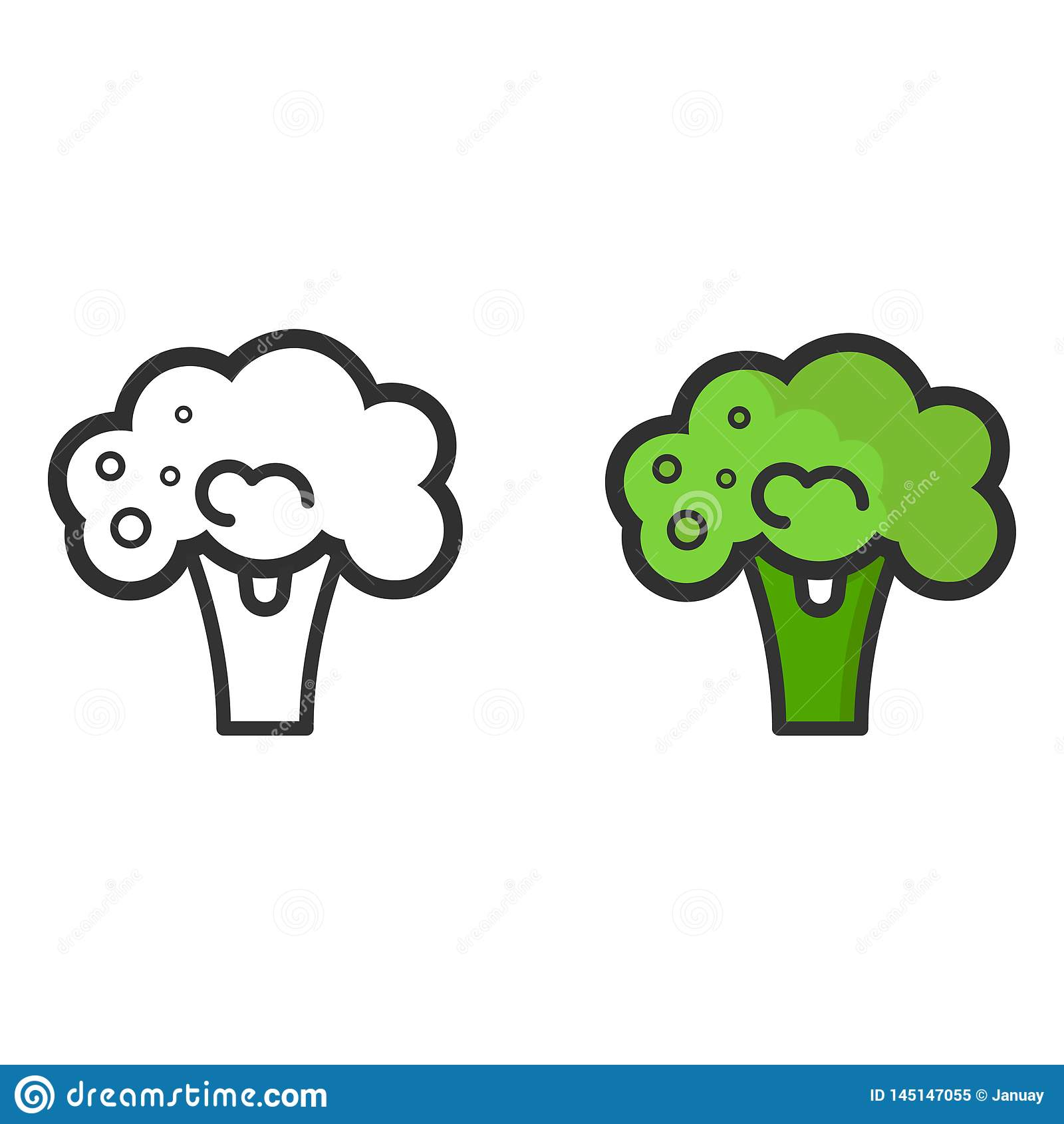 cartoon broccoli vector image outline and colored stock vector illustration of face leaf 145147055 https www dreamstime com vector image cartoon broccoli outline colored image145147055