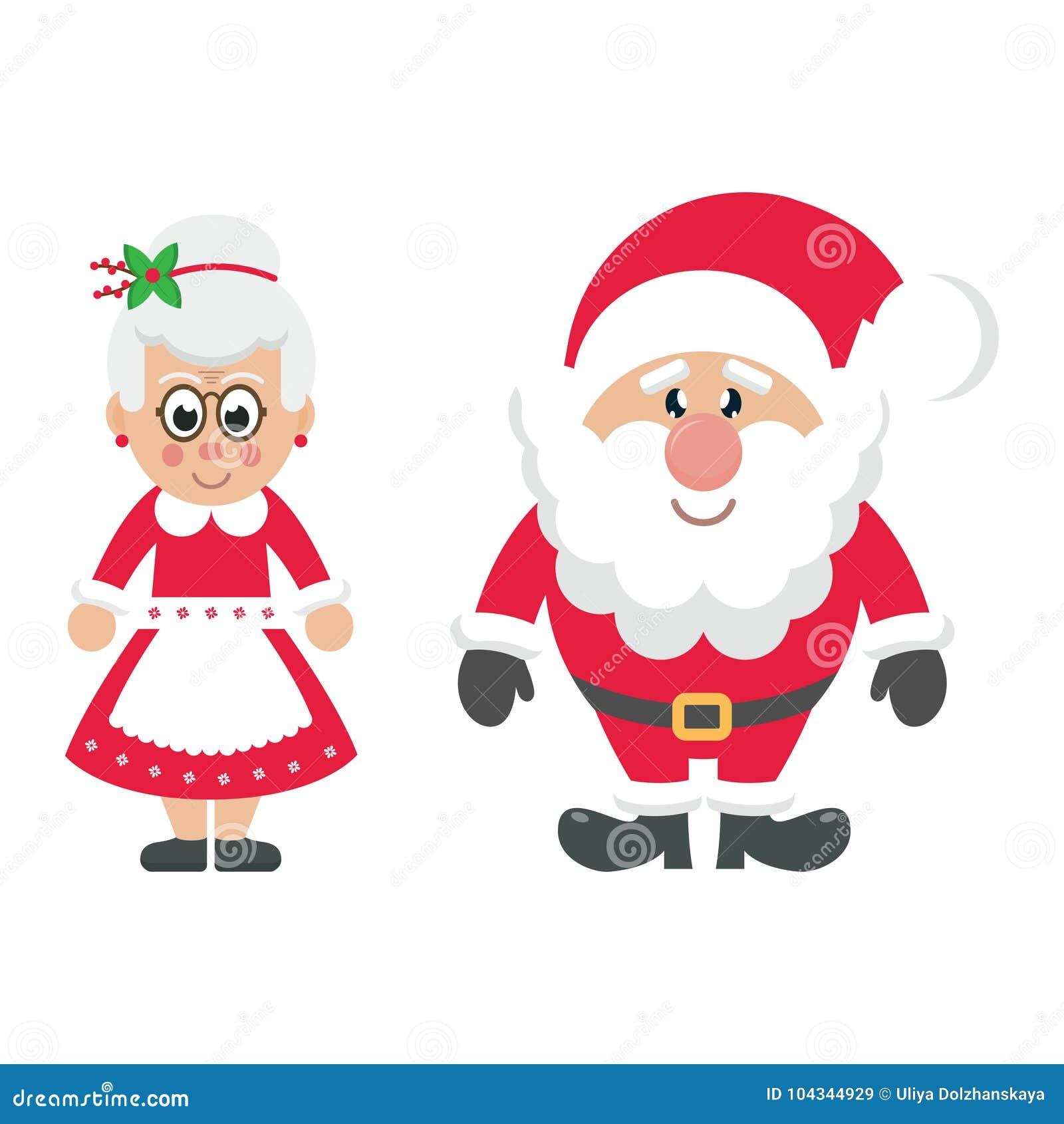 Cartoon Mrs Santa And Santa Claus