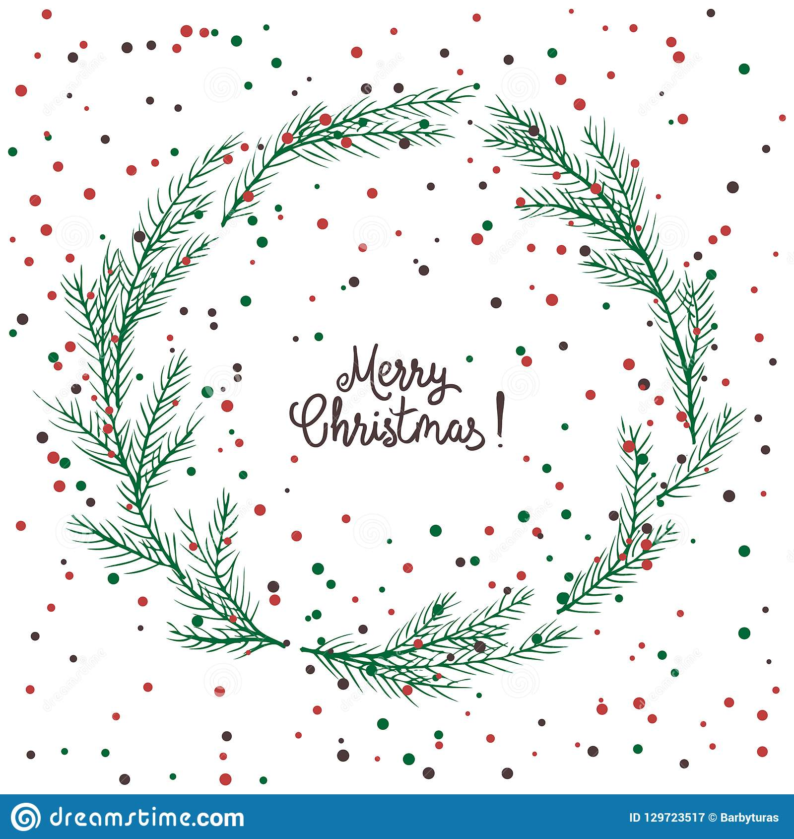 Vector image of a Christmas wreath, a wreath of green fir. Merry Christmas inscription in the center. Christmas mood. Universal us