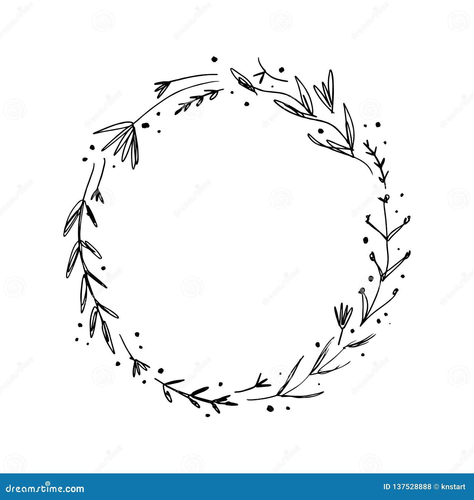 Vector Image Clipart Editable Details Floral Ink Frame Text Template Stock Illustration Illustration Of Boho Branding 137528888