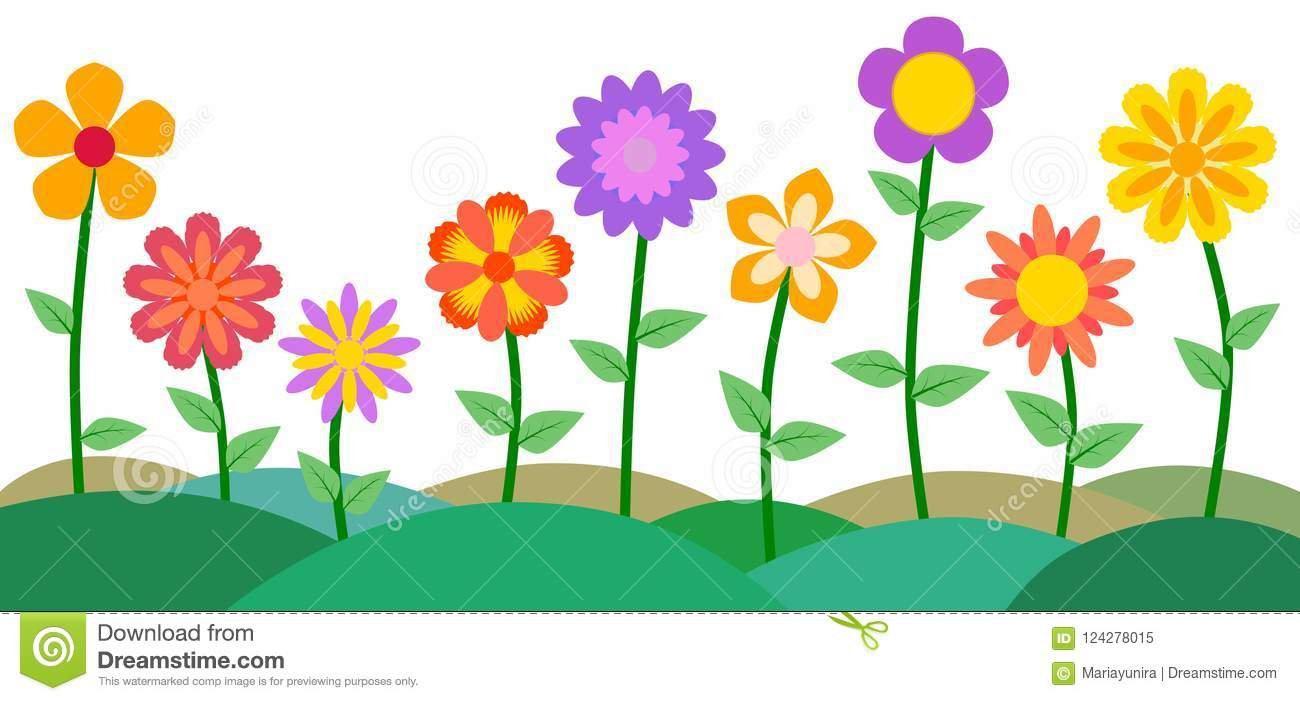 Colorful Flower And Garden Vector Illustration Background