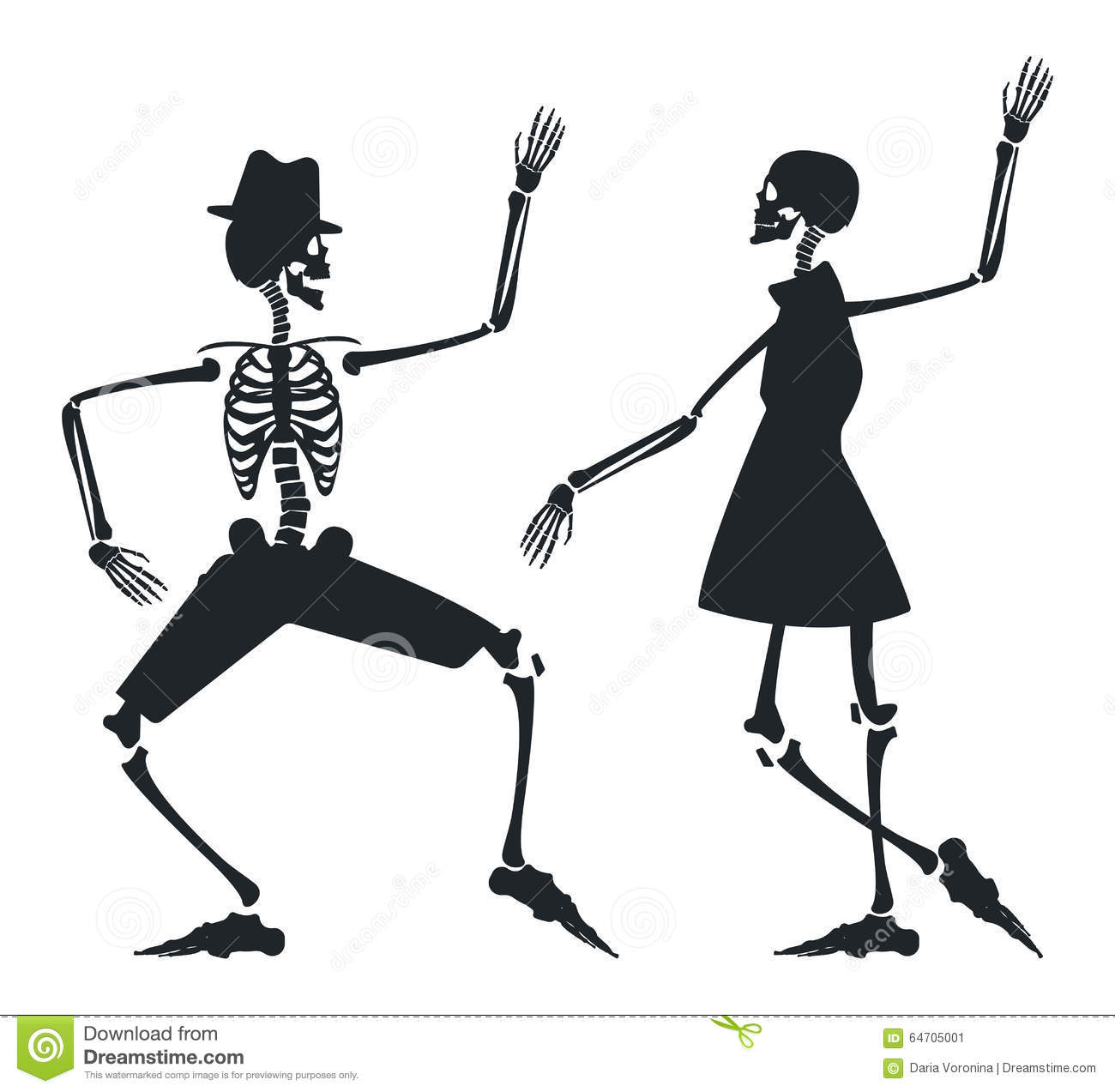Vector Image With Couple Silhouette Of Skeleton Stock Vector ...