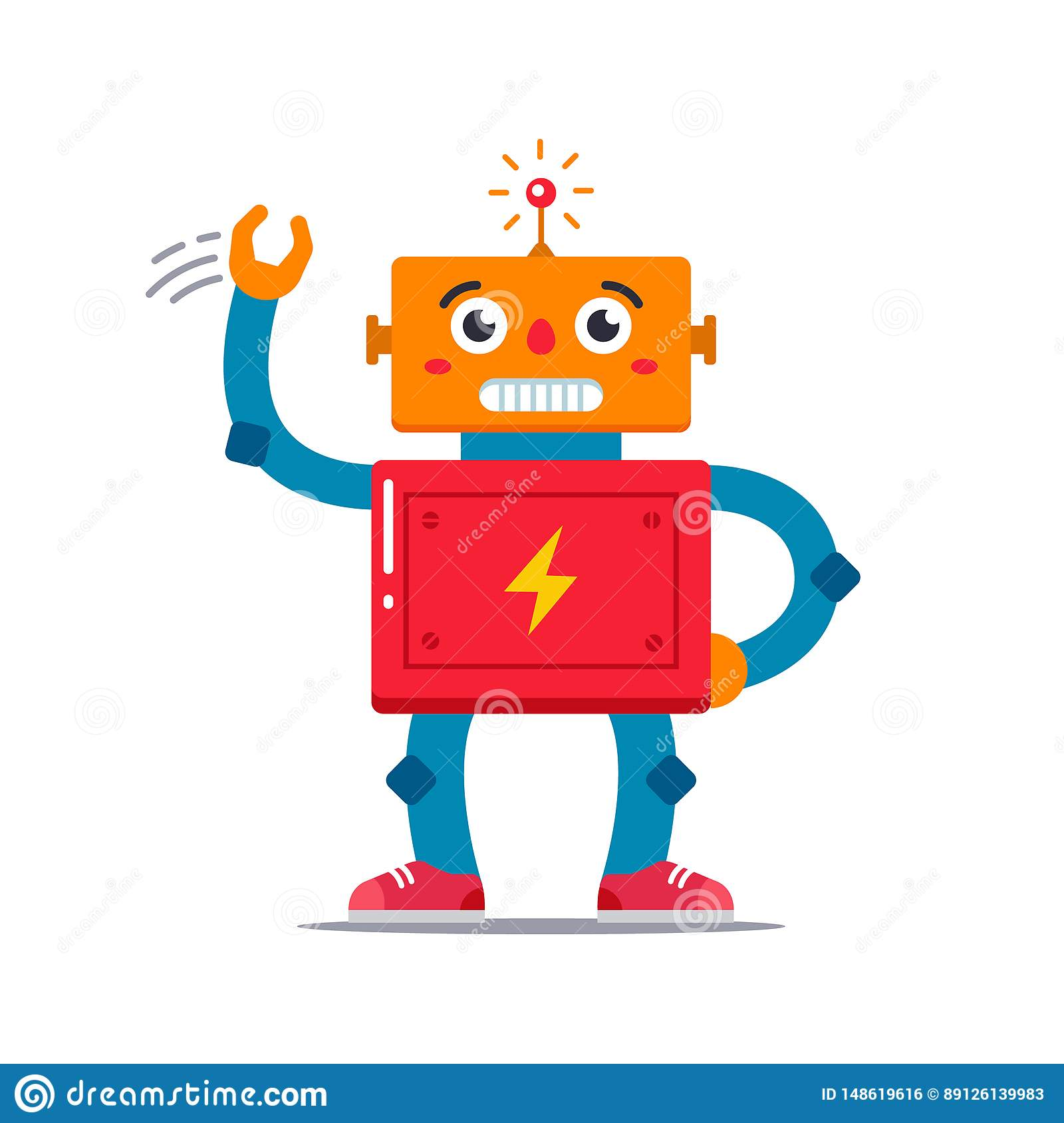 Vector image of a cute robot who waves