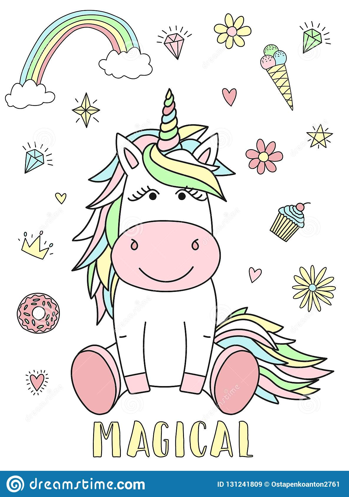 Vector image of a cute unicorn with hearts, flowers, rainbow, diamonds and the inscription Magical. Concept of holiday, baby showe