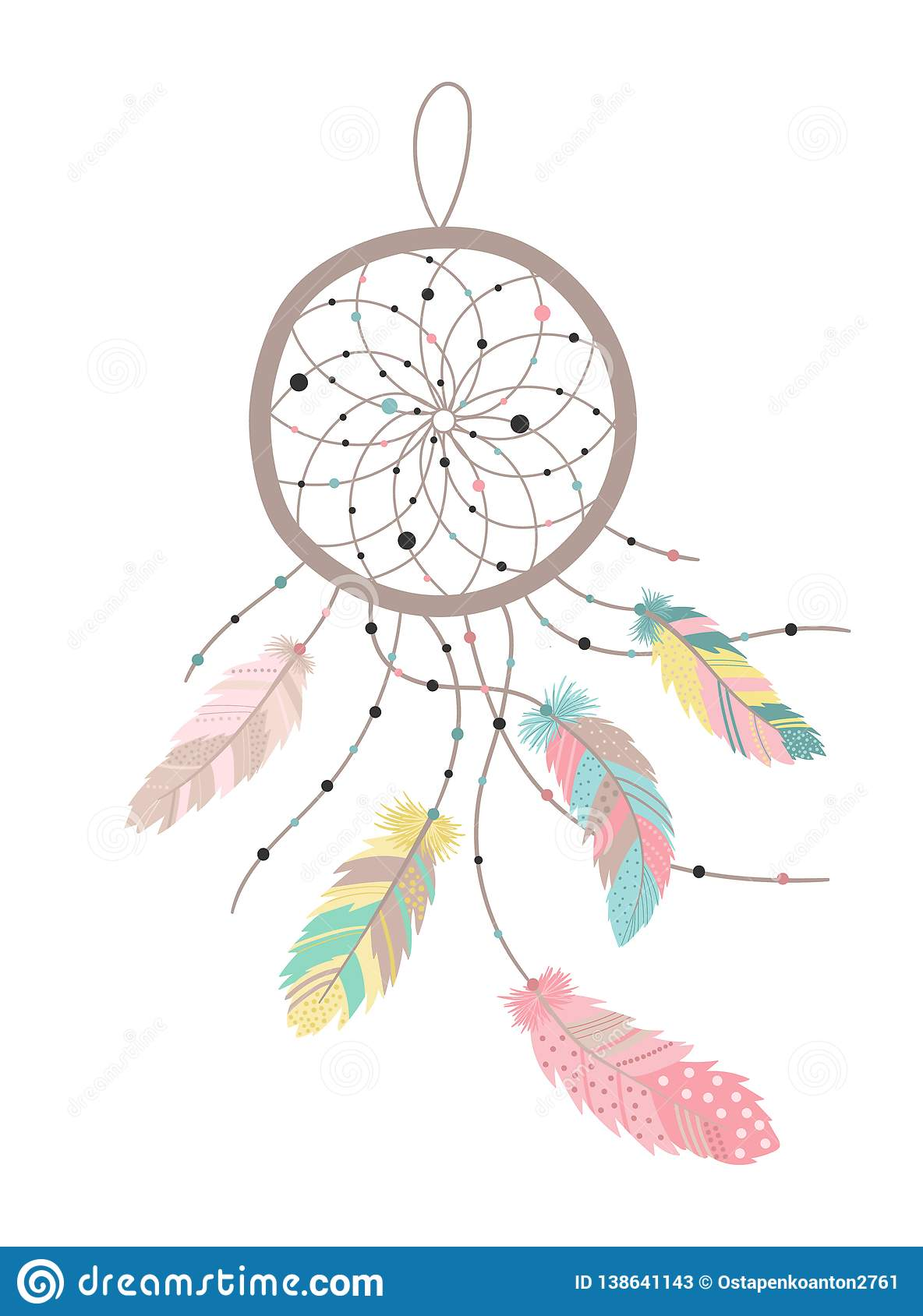 Vector image of a dreamcatcher in boho style with colorful feathers.