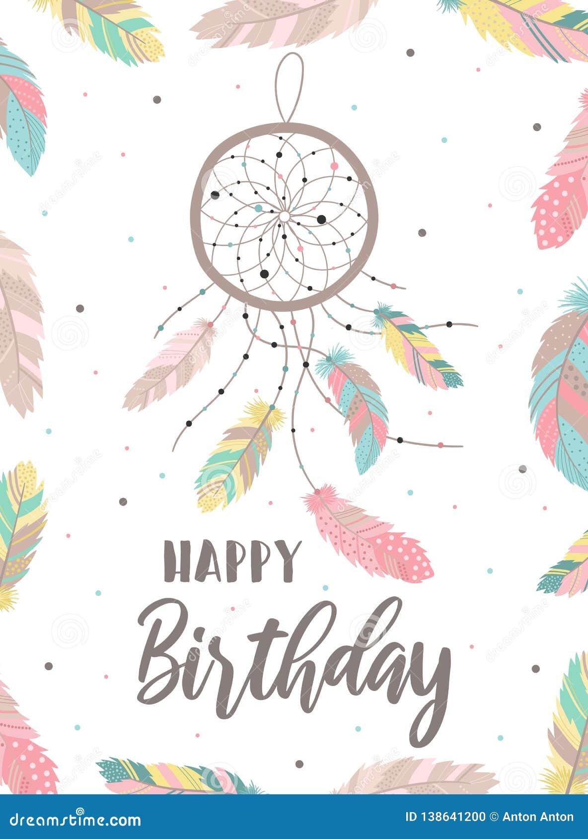 Happy Birthday Boho Style Stock Illustrations 119 Happy Birthday