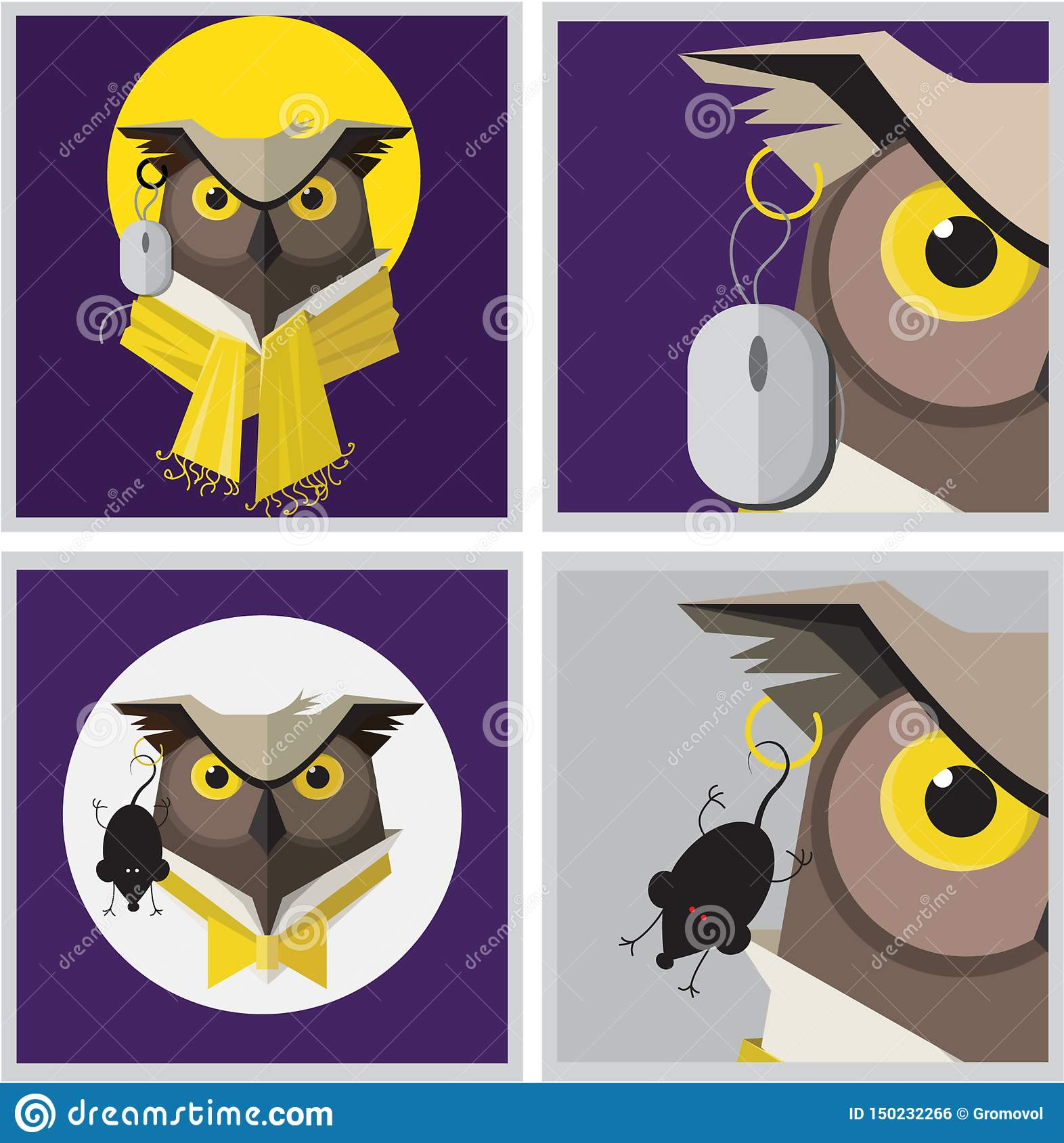 Vector image of an eagle owl earring