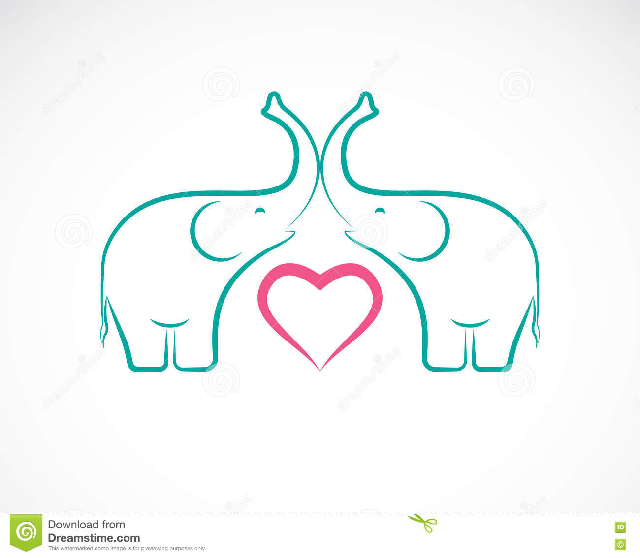 Vector Image Of Elephant And Heart Stock Vector ...