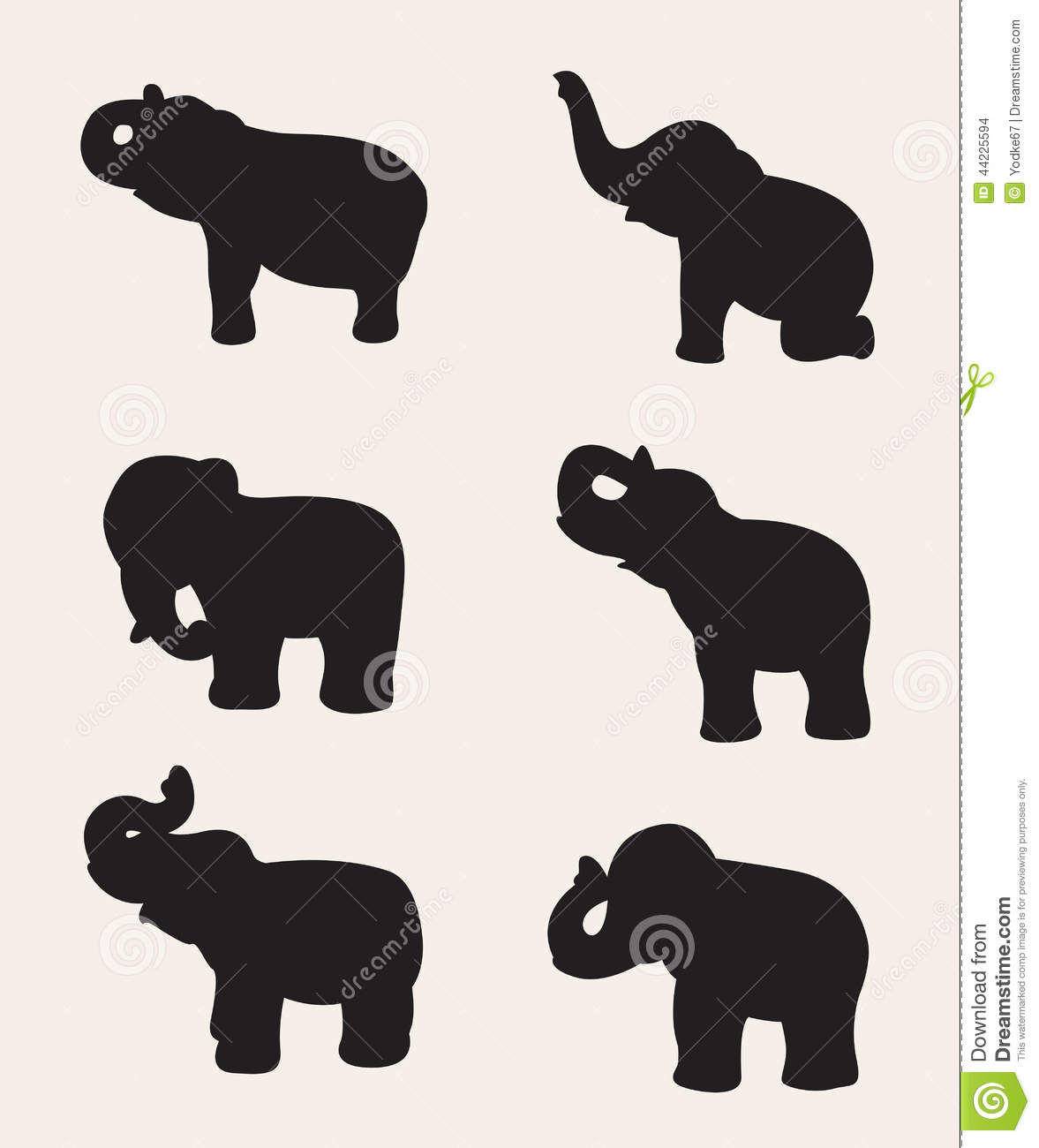 Vector Image Of An Elephant Silhouette Stock Vector - Image: 44225594